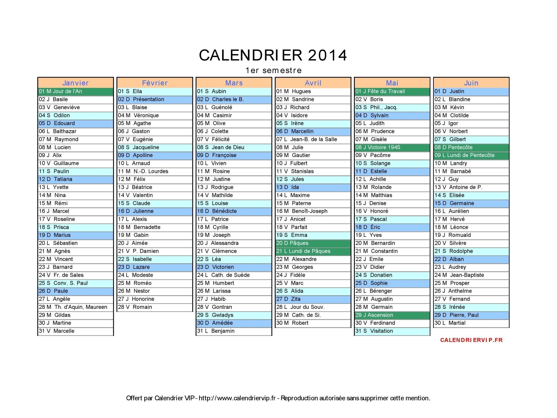 Calendrier 2014 À Imprimer Gratuit En Pdf Et Excel avec Calendrier 2018 Avec Jours Fériés Vacances Scolaires À Imprimer