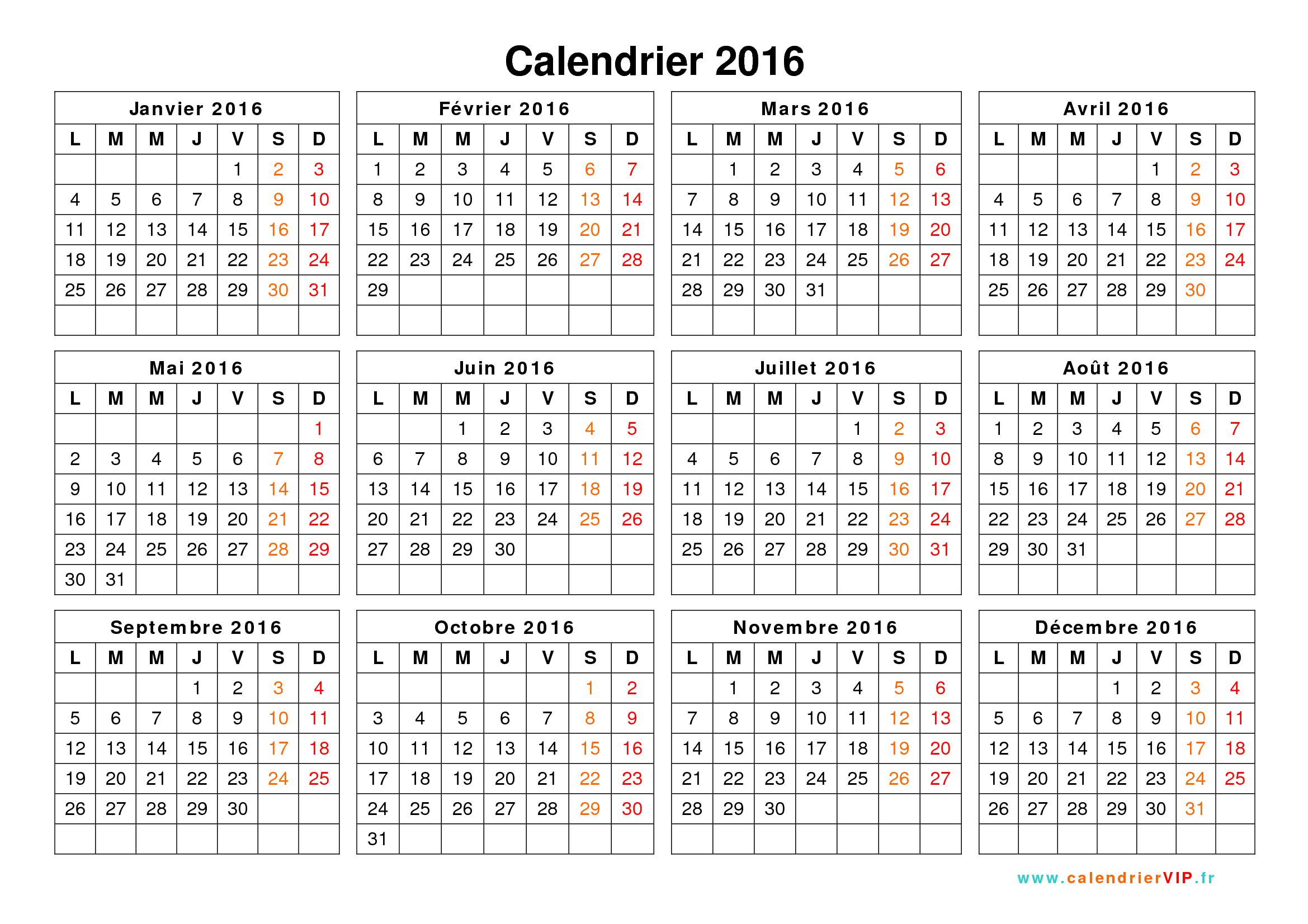 Calendrier 2016 À Imprimer Gratuit En Pdf Et Excel encequiconcerne Calendrier Des Anniversaires À Imprimer Gratuit