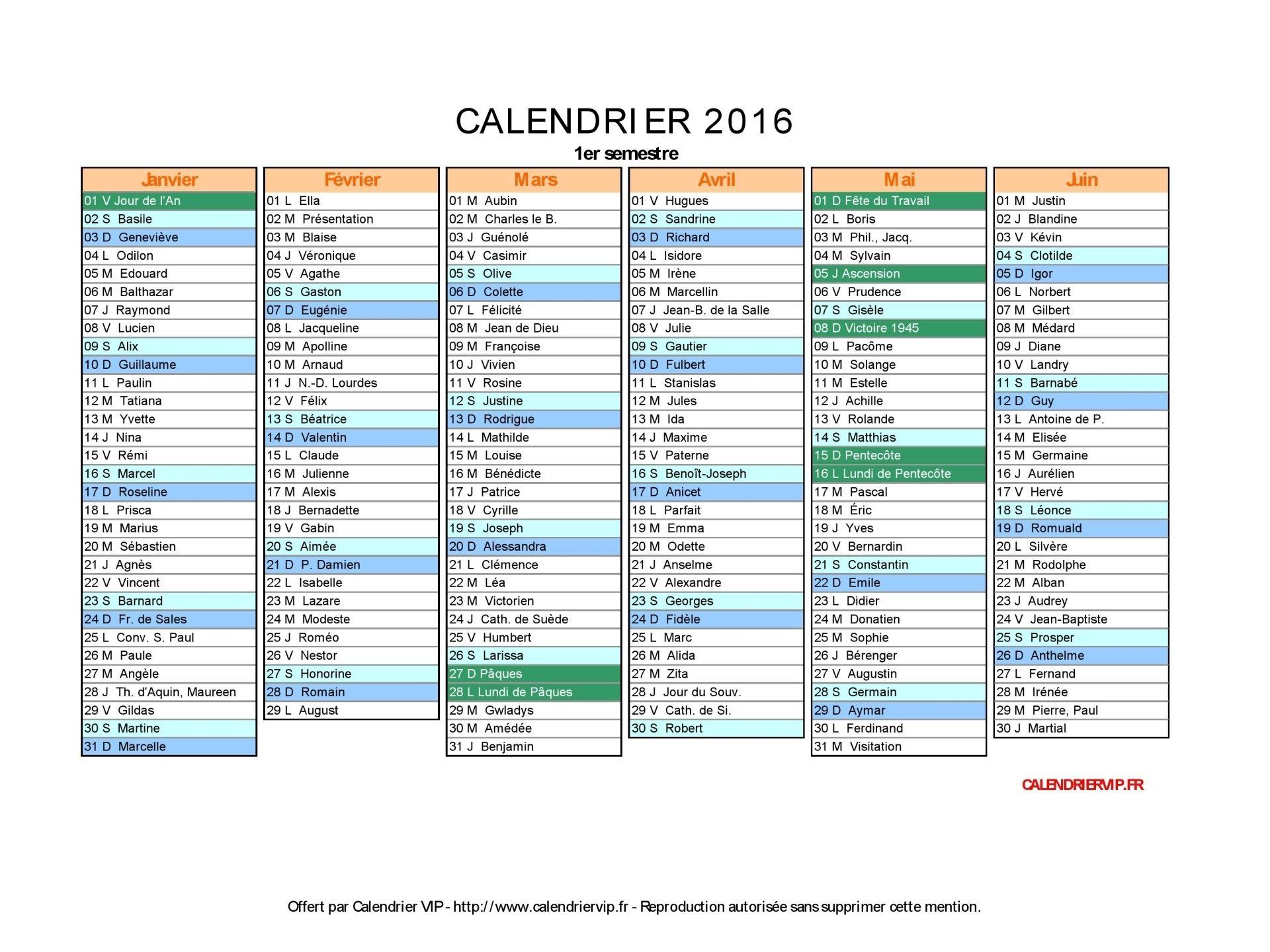 Calendrier 2016 Avec Jours Fériés Vacances Scolaires concernant Calendrier 2019 Avec Jours Fériés Vacances Scolaires