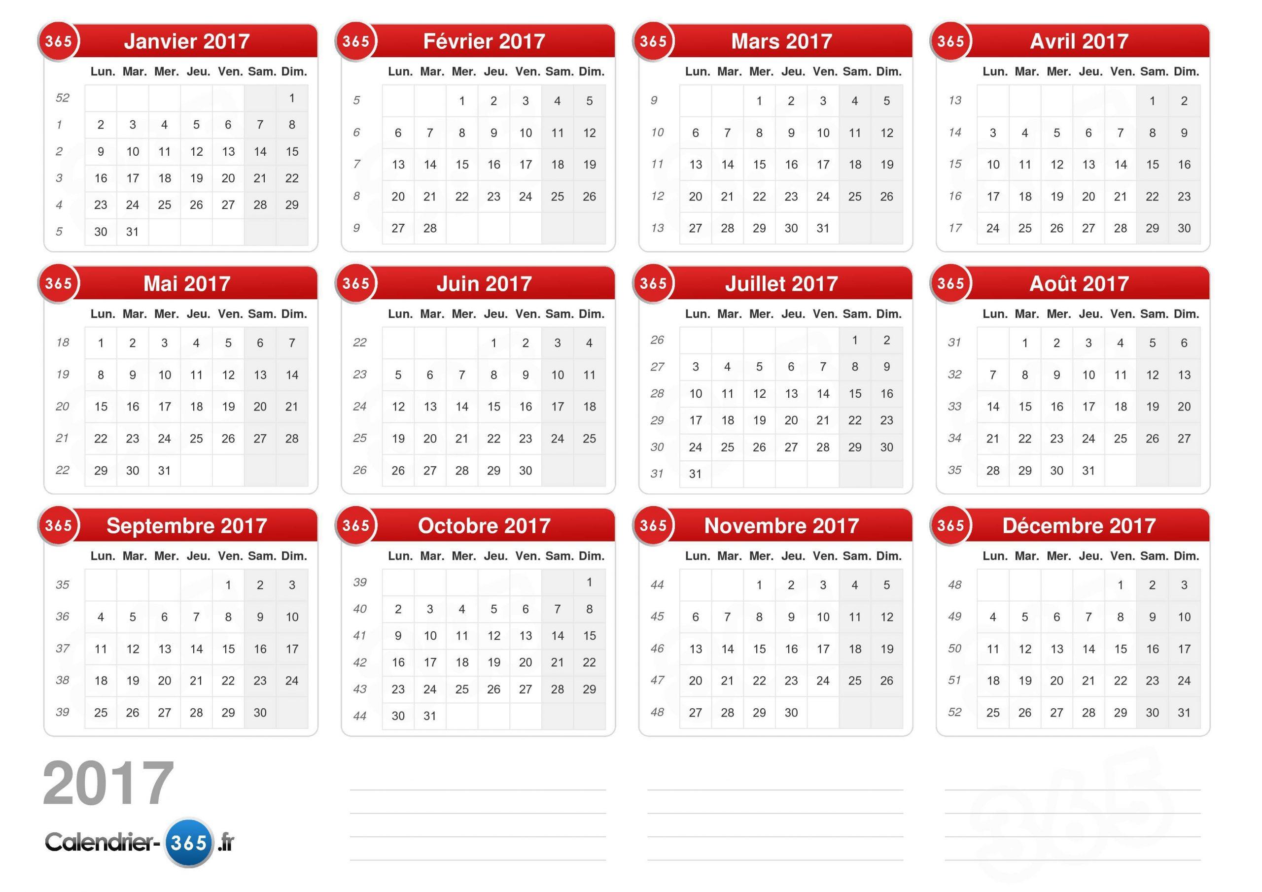 Calendrier 2017 à Calendrier 2017 Imprimable