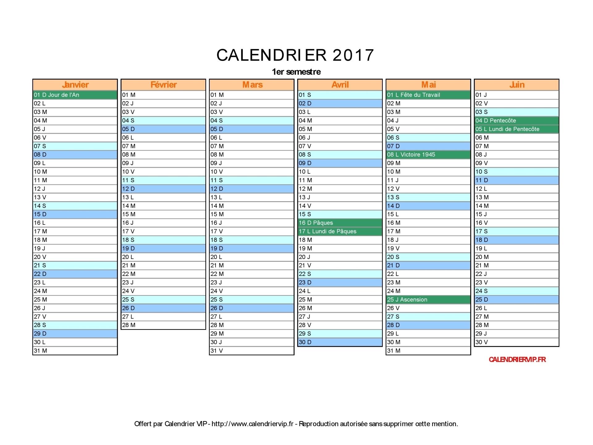 Calendrier 2017 À Imprimer Gratuit En Pdf Et Excel avec Calendrier 2017 Imprimable