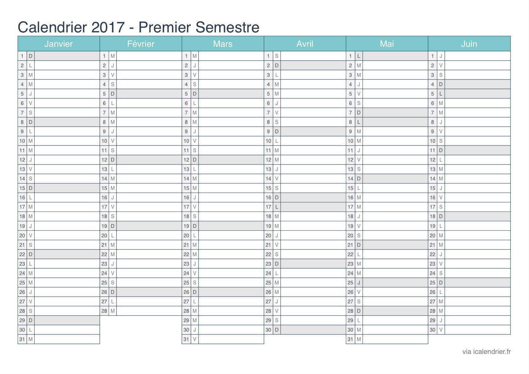 Calendrier 2017 À Imprimer Pdf Et Excel - Icalendrier tout Calendrier 2017 Imprimable