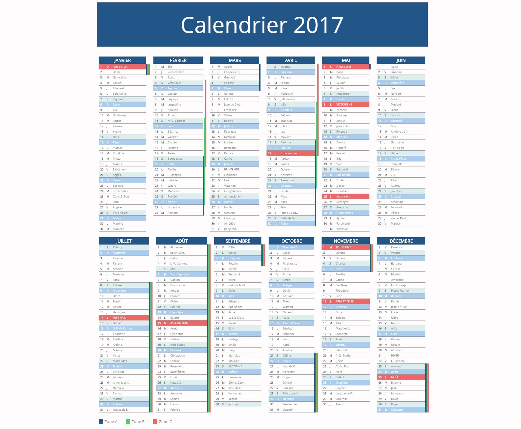 Calendrier 2017 ↠○ Vacances Scolaires & Jours Fériés 2017 tout Calendrier 2019 Avec Jours Fériés Vacances Scolaires