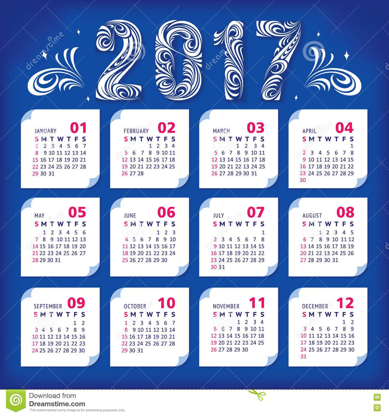 Calendrier 2017 Stylisé Illustration De Vecteur destiné Calendrier 2017 En Ligne