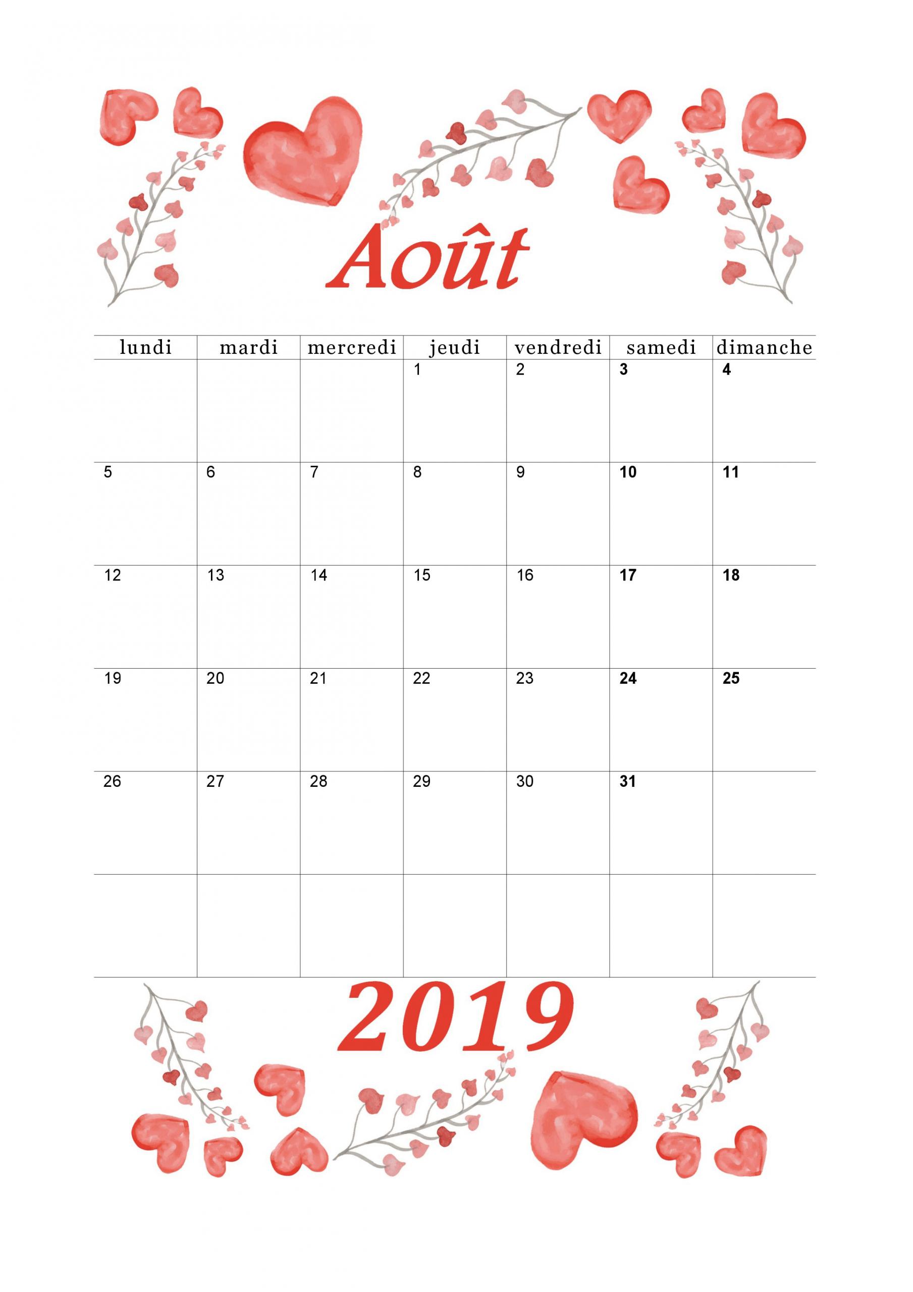 Calendrier 2018-2019 Mensuel À Imprimer. | Calendrier Aout avec Calendrier Des Anniversaires À Imprimer Gratuit