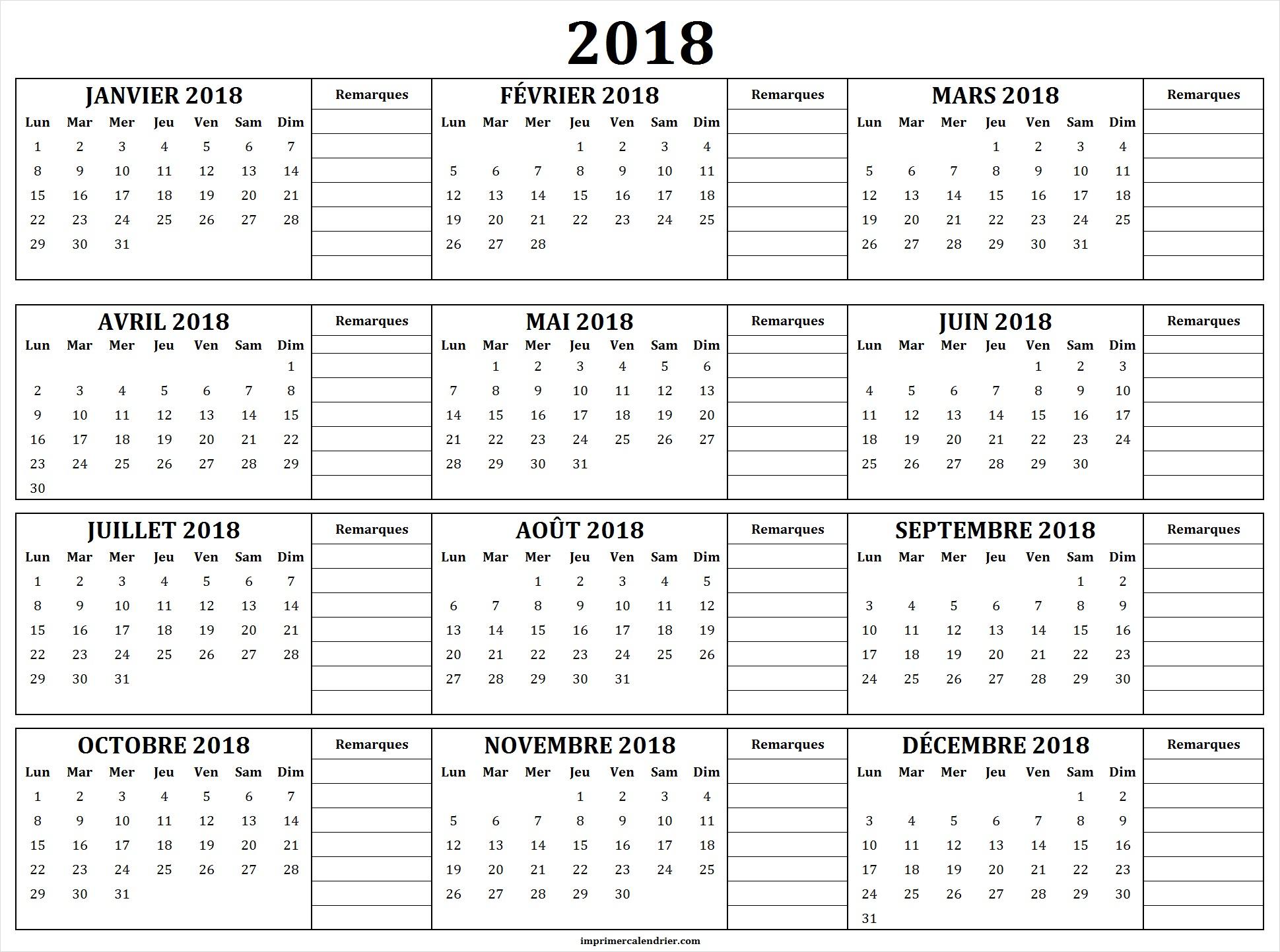 Calendrier 2018 À Imprimer Gratuit | Calendrier Pour Imprimer destiné Calendrier Annuel 2018 À Imprimer