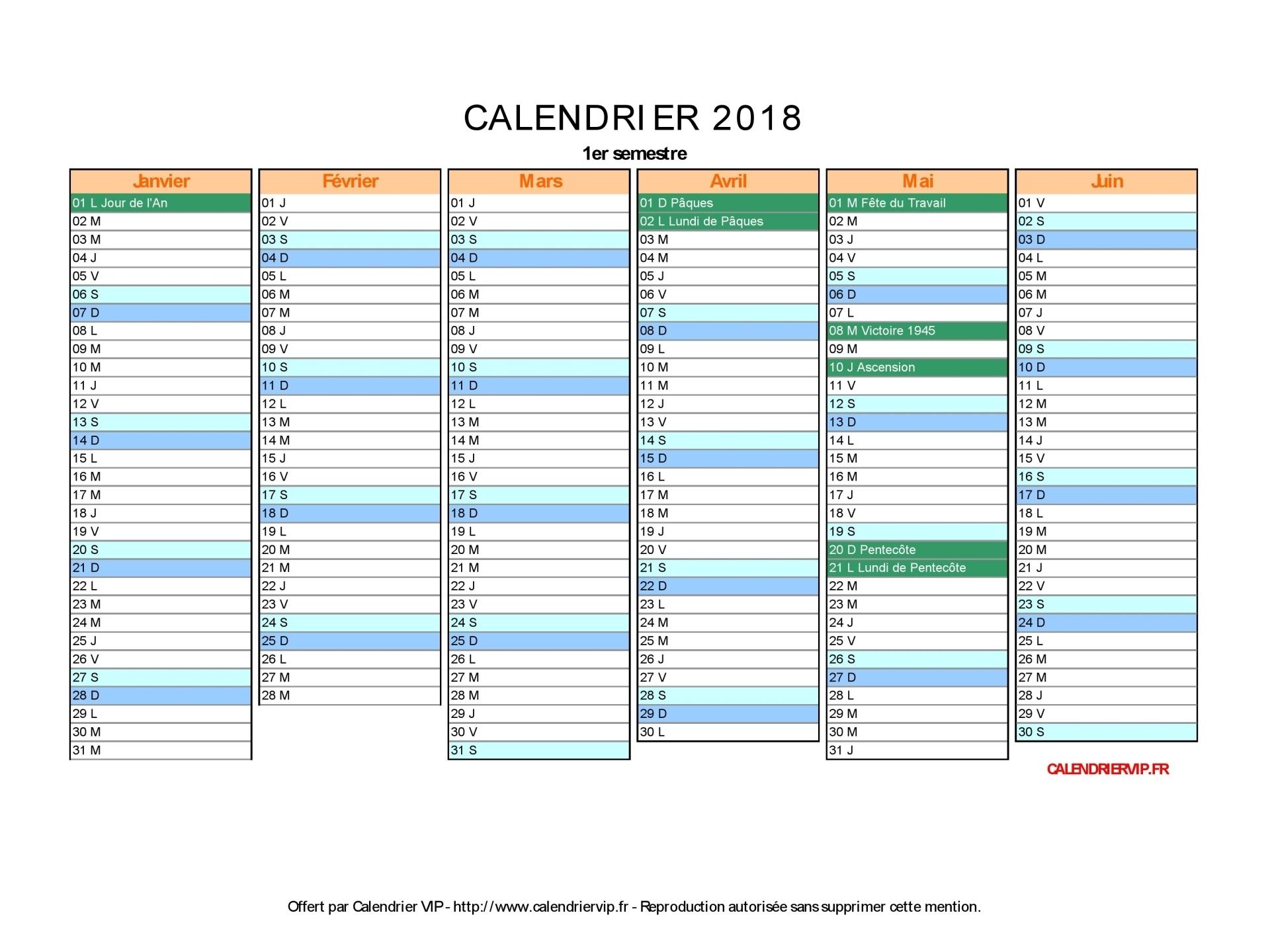 Calendrier 2018 À Imprimer Gratuit En Pdf Et Excel destiné Calendrier 2018 À Imprimer Avec Vacances Scolaires