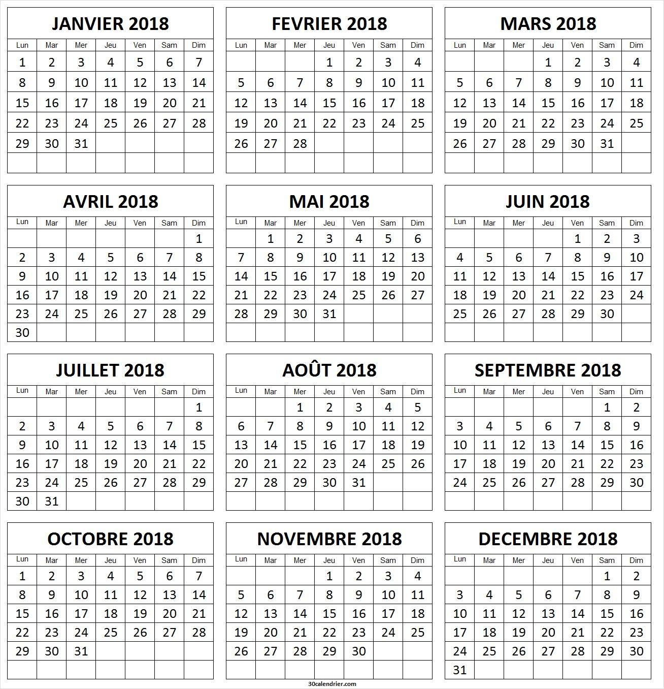 Calendrier 2018 À Imprimer Gratuites | Calendrier 2018 à Calendrier Annuel 2018 À Imprimer