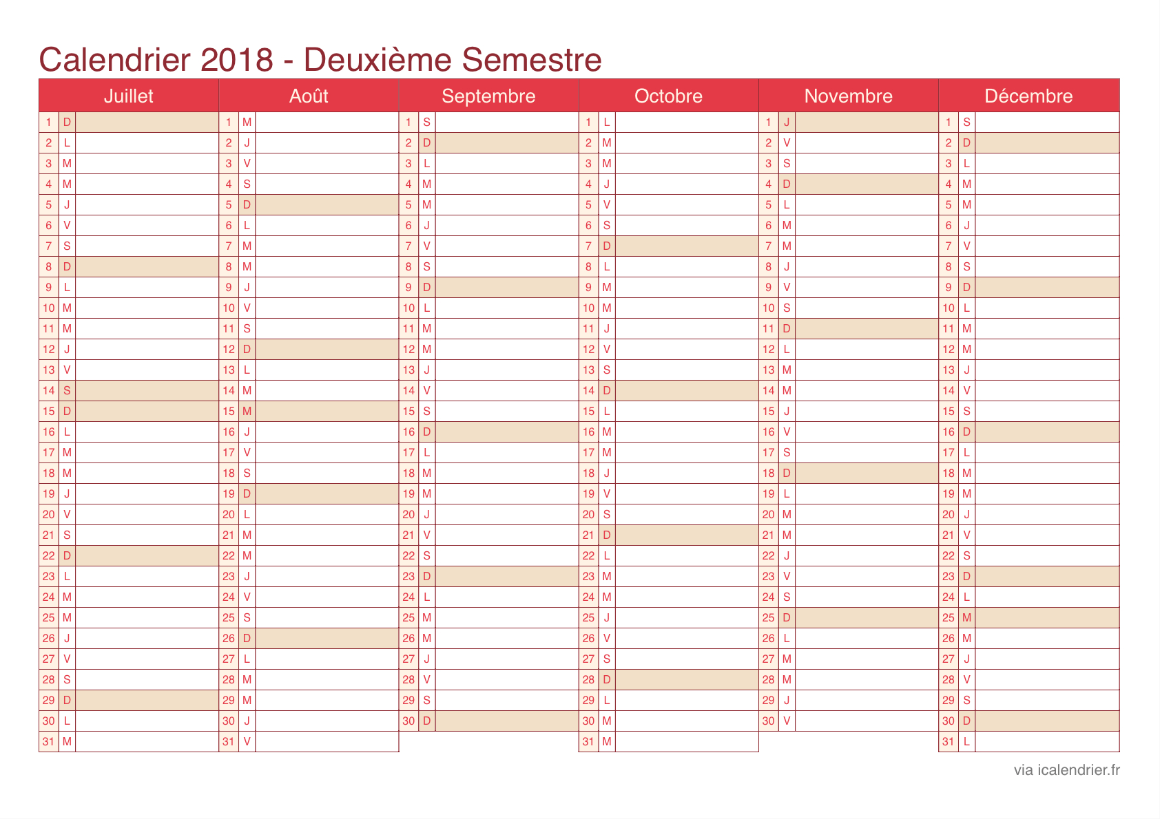 Calendrier 2018 À Imprimer Pdf Et Excel - Icalendrier serapportantà Calendrier Annuel 2018 À Imprimer