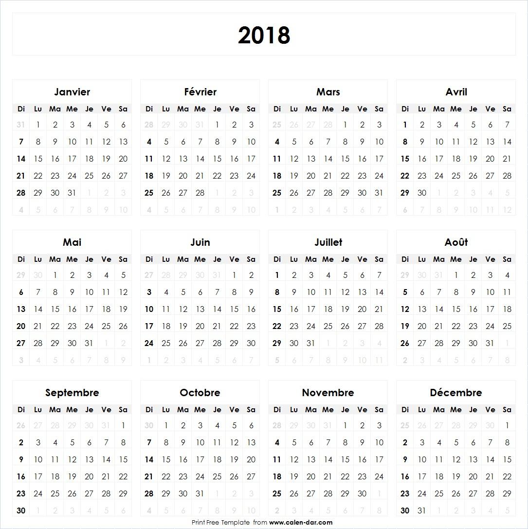 Calendrier 2018 À Imprimer Vierge | Jours Fériés Vacances avec Calendrier 2018 À Imprimer Avec Vacances Scolaires
