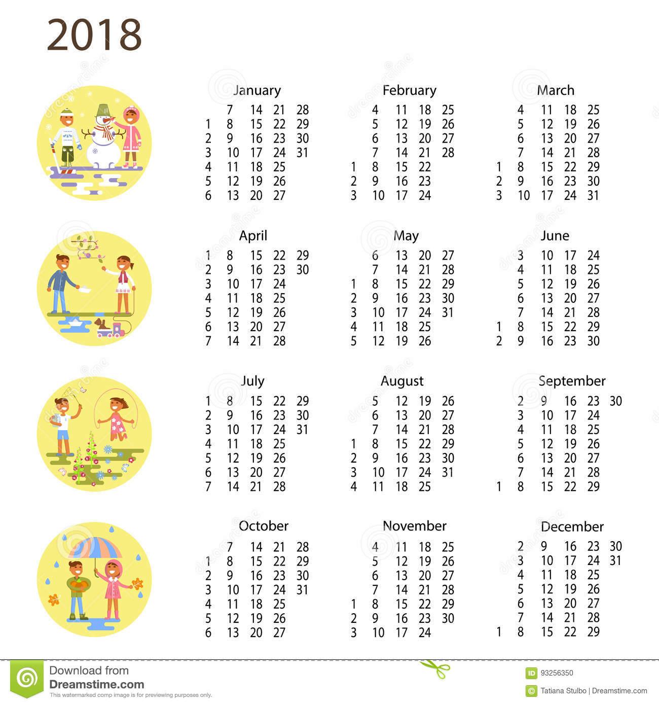 Calendrier 2018 Avec Des Enfants Illustration De Vecteur serapportantà Calendrier 2018 Enfant