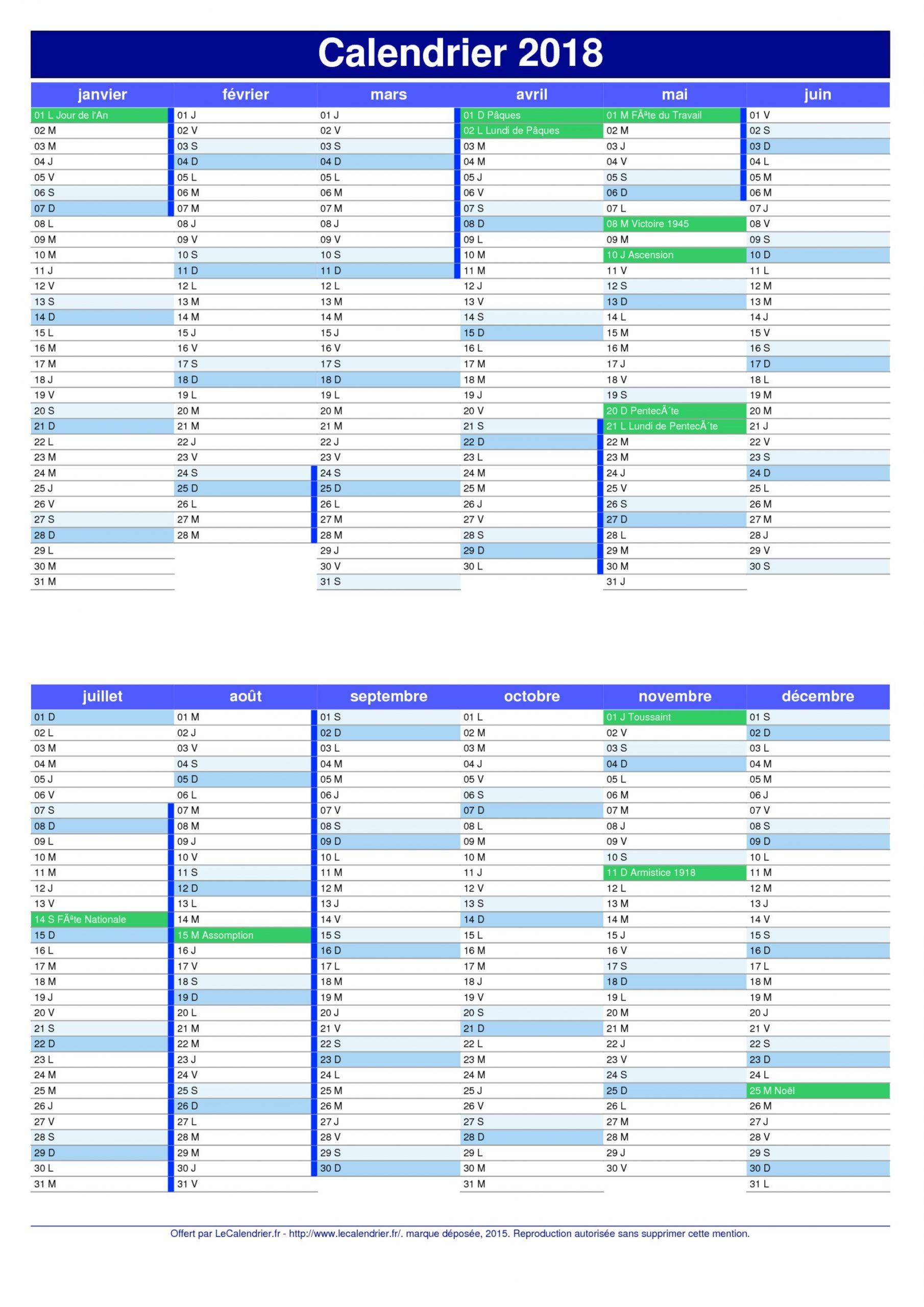 Calendrier 2018 Avec Jours Fériés | 2018 Calendar Printable avec Calendrier 2018 Avec Jours Fériés Vacances Scolaires À Imprimer