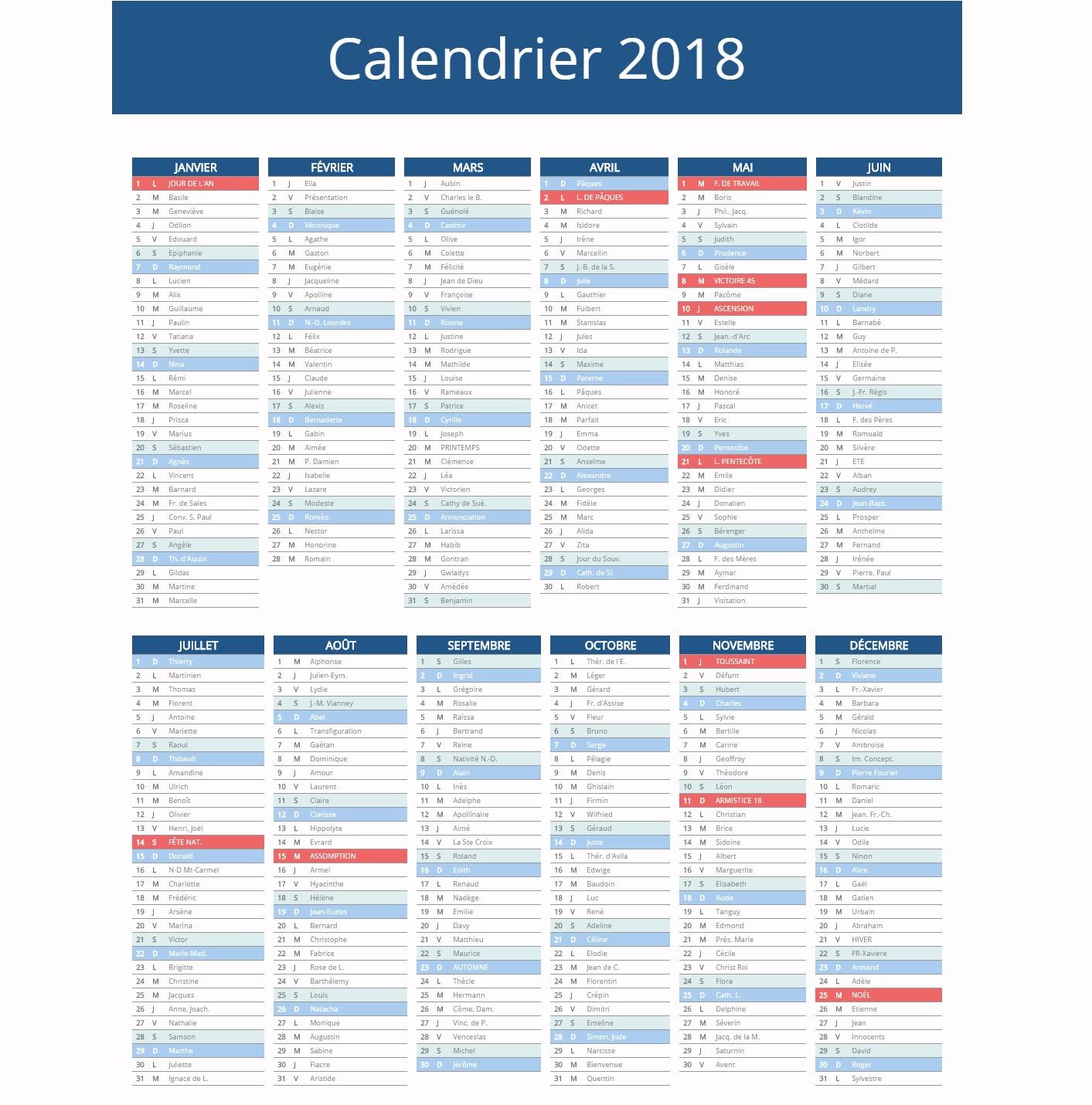 Calendrier 2018 ↠○ Vacances Scolaires & Jours Fériés 2018 tout Calendrier 2Ème Semestre 2018