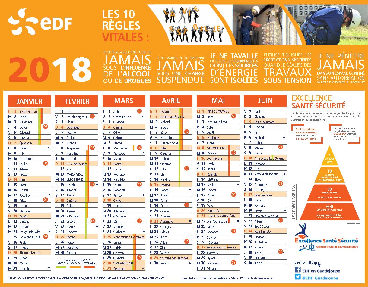 Calendrier 2018 | Edf Guadeloupe dedans Calendrier 2Ème Semestre 2018