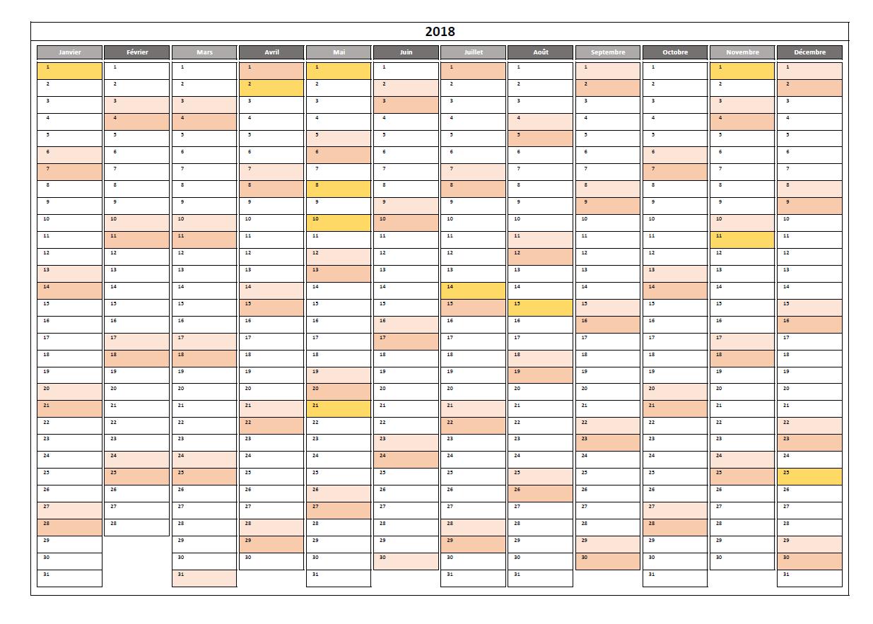 Calendrier 2018 Excel Modifiable Et Gratuit | Excel-Malin pour Planning Annuel 2018