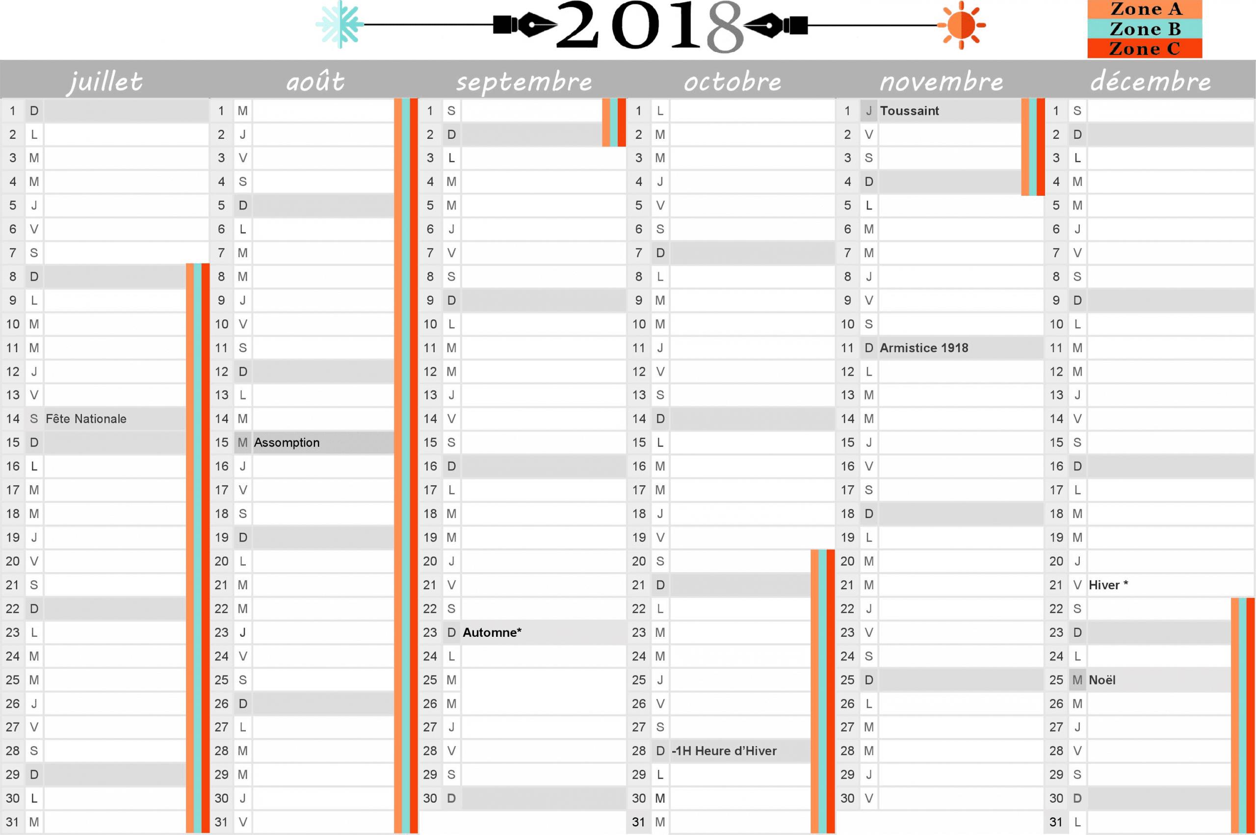 Calendrier 2018 : Vacances Scolaires Et Jours Fériés Inclus avec Calendrier 2Ème Semestre 2018
