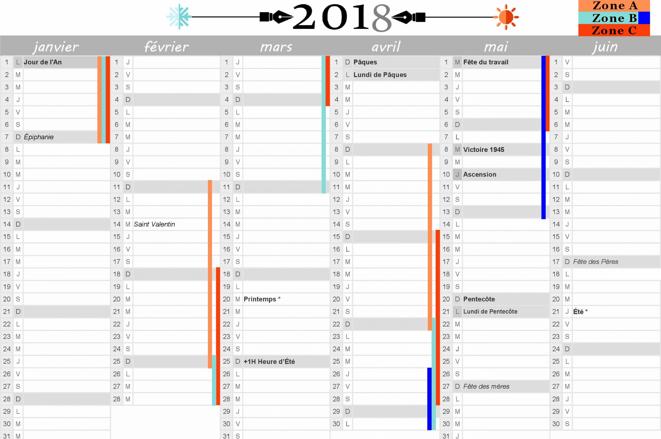 Calendrier 2018 : Vacances Scolaires Et Jours Fériés Inclus dedans Calendrier 2018 Avec Jours Fériés Vacances Scolaires À Imprimer