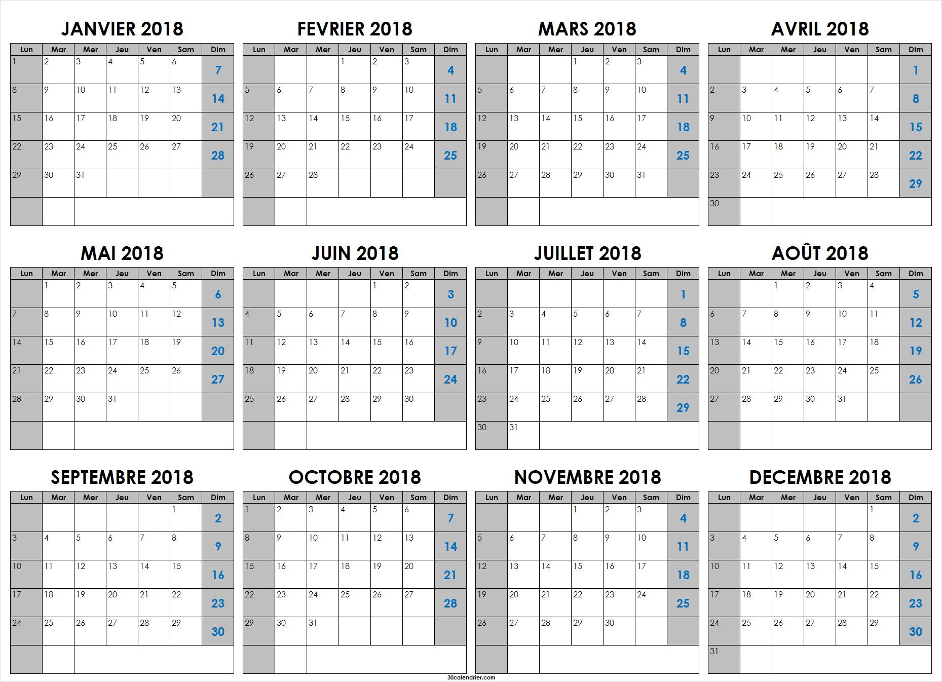 Calendrier 2018 Vierge À Imprimer Mensuel | Calendrier 2018 concernant Calendrier Annuel 2018 À Imprimer