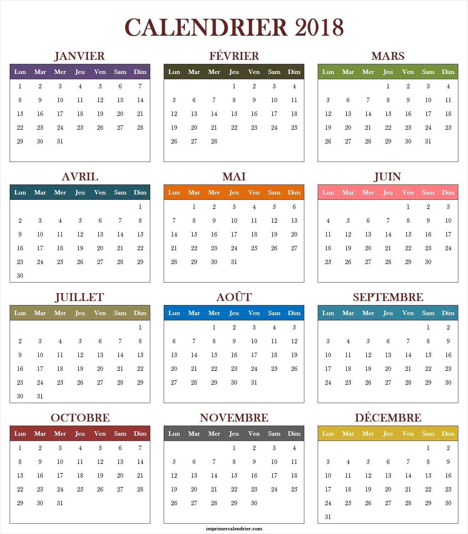 Calendrier 2018 Vierge | Calendrier 2018 Vierge À Imprimer intérieur Calendrier Annuel 2018 À Imprimer