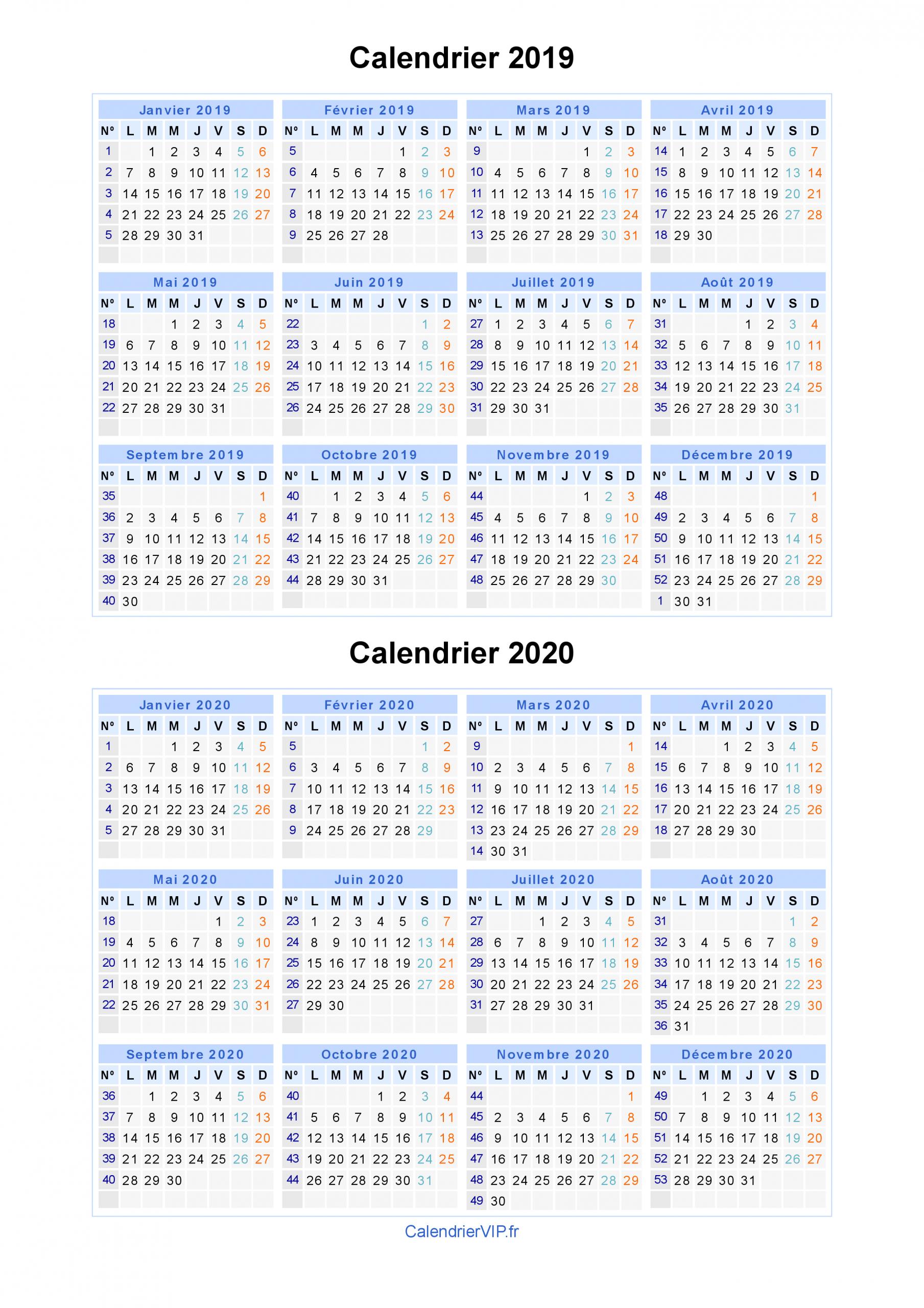 Calendrier 2019 2020 À Imprimer Gratuit En Pdf Et Excel à Calendrier 2019 Avec Semaine