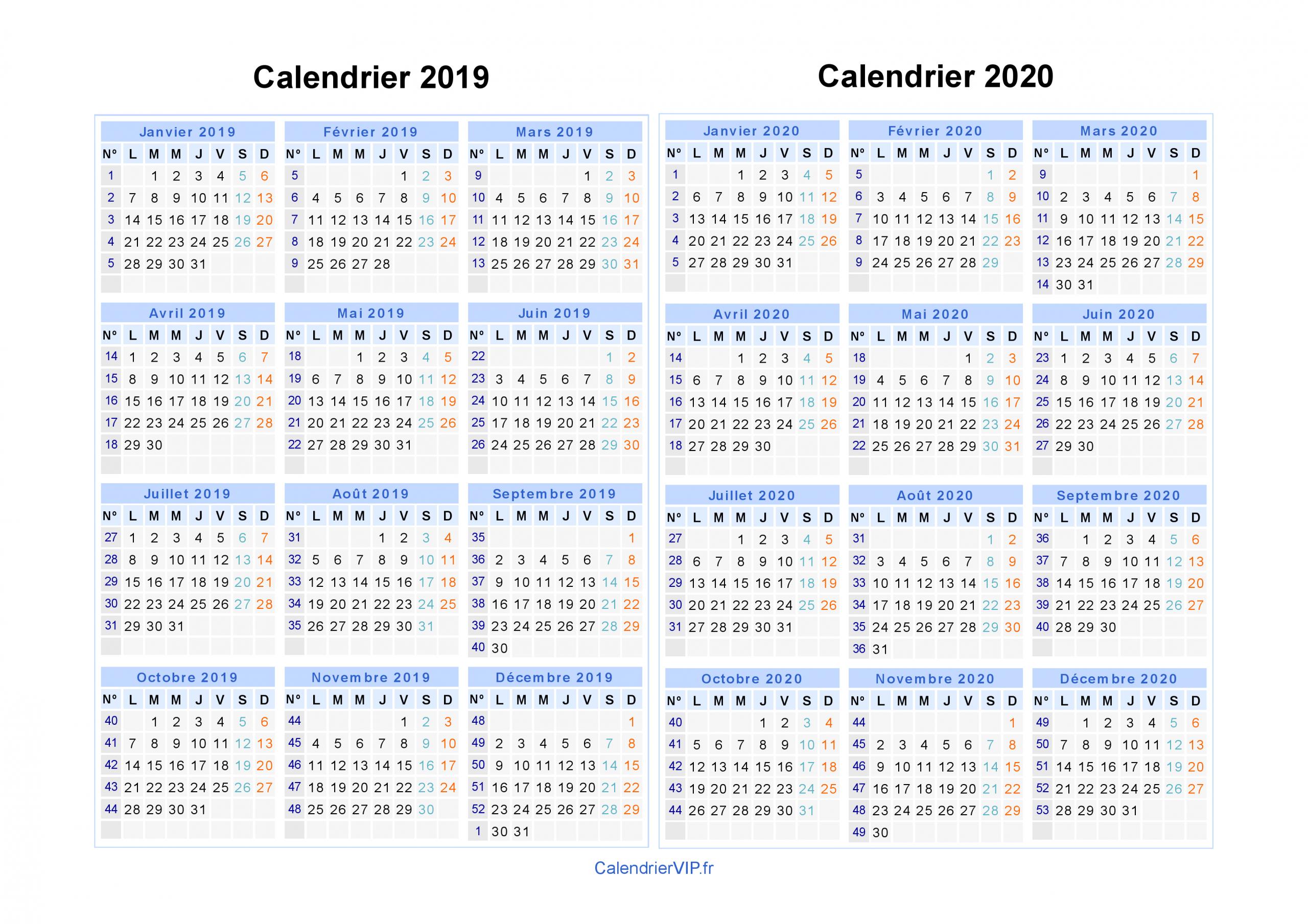 Calendrier 2019 2020 À Imprimer Gratuit En Pdf Et Excel concernant Calendrier 2019 Avec Semaine
