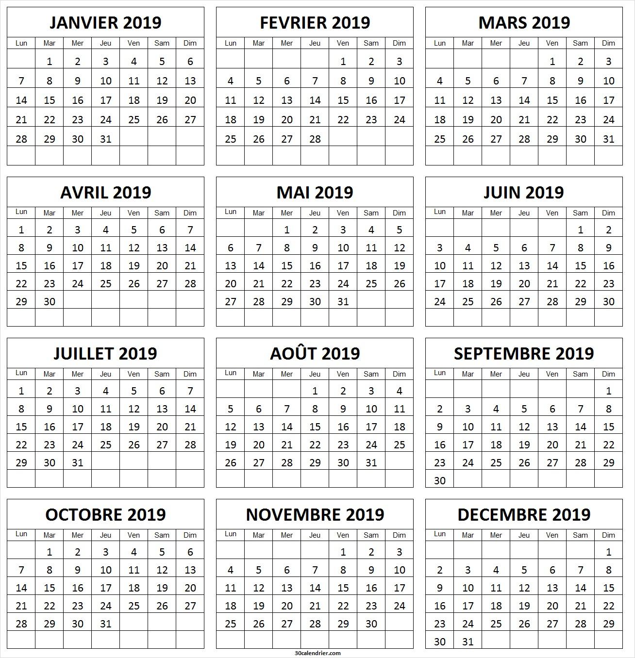 Calendrier 2019 À Imprimer Gratuit | Calendrier 2019 Vierge tout Calendrier Annuel 2019 À Imprimer Gratuit