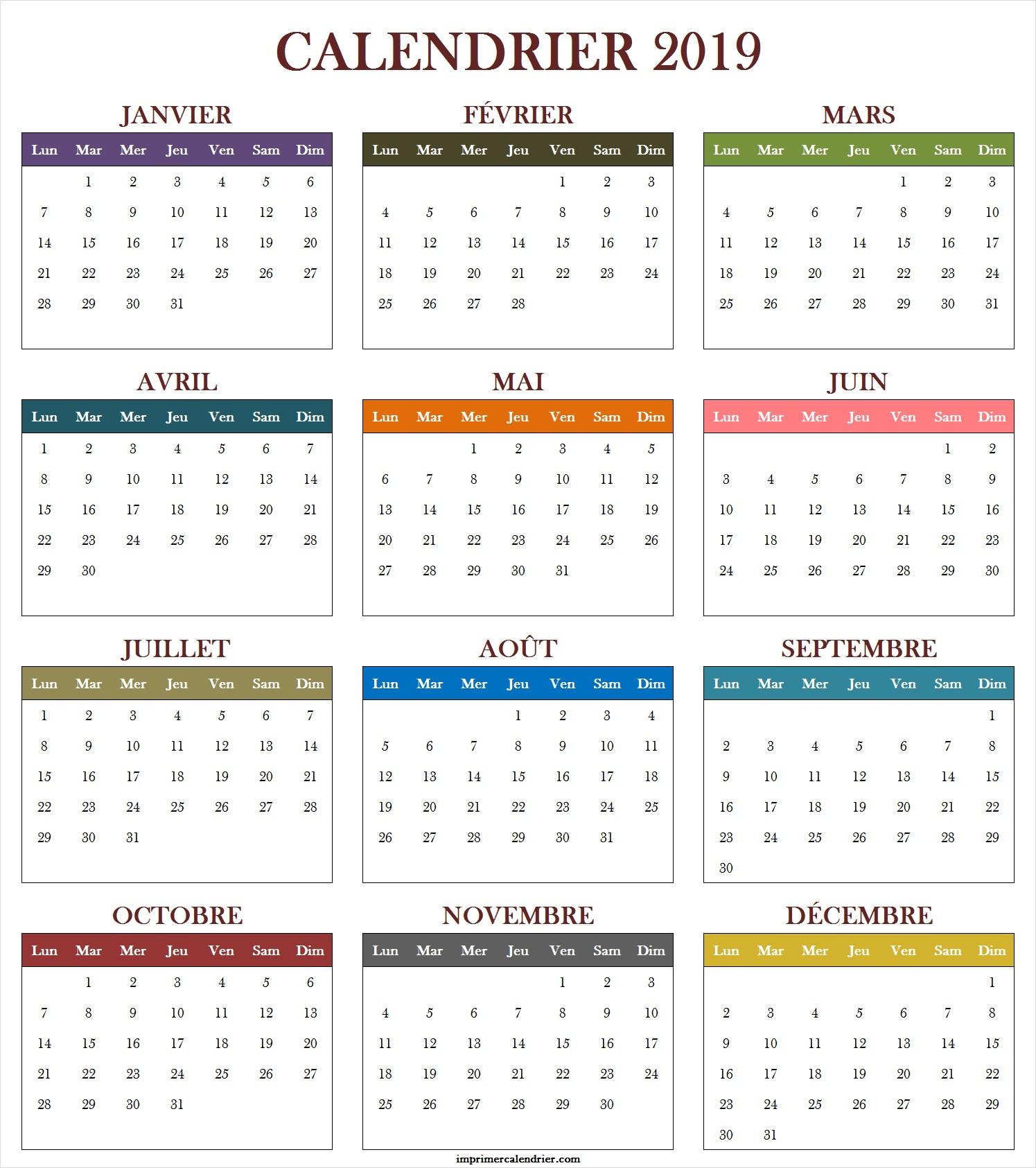 Calendrier 2019 À Imprimer Gratuit | Calendrier Pour Imprimer à Calendrier Annuel 2019 À Imprimer Gratuit