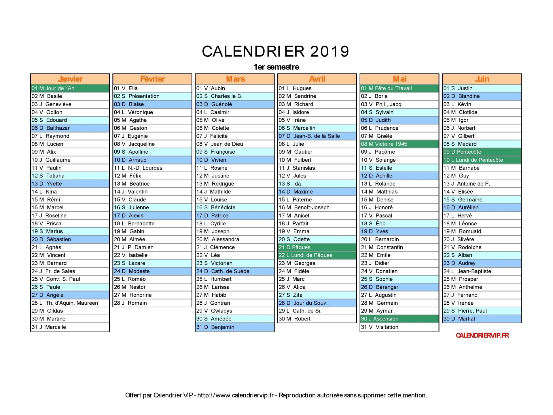 Calendrier 2019 À Imprimer Gratuit En Pdf Et Excel à Calendrier 2019 Avec Jours Fériés Vacances Scolaires