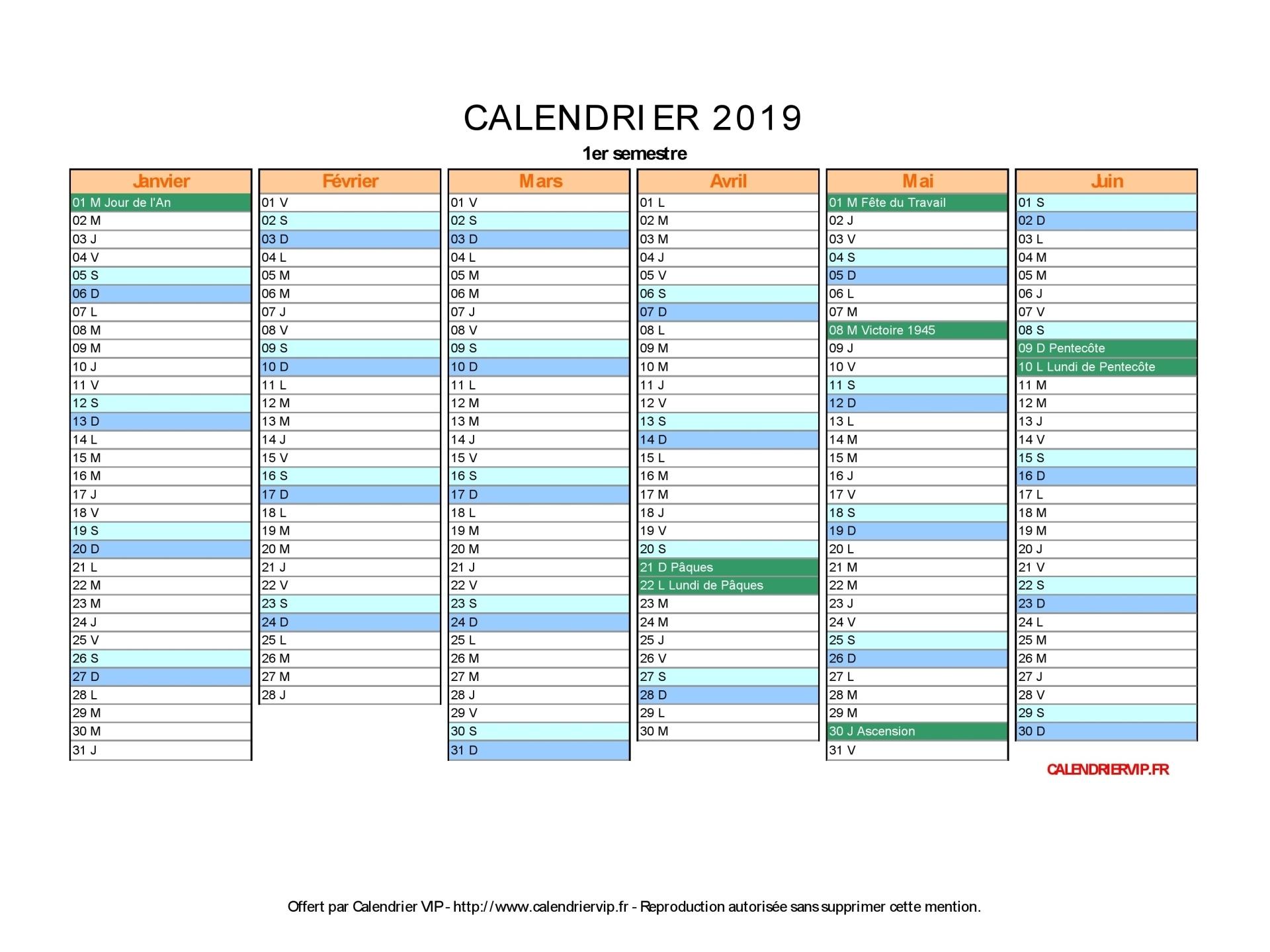 Calendrier 2019 À Imprimer Gratuit En Pdf Et Excel avec Calendrier 2019 Avec Jours Fériés Vacances Scolaires