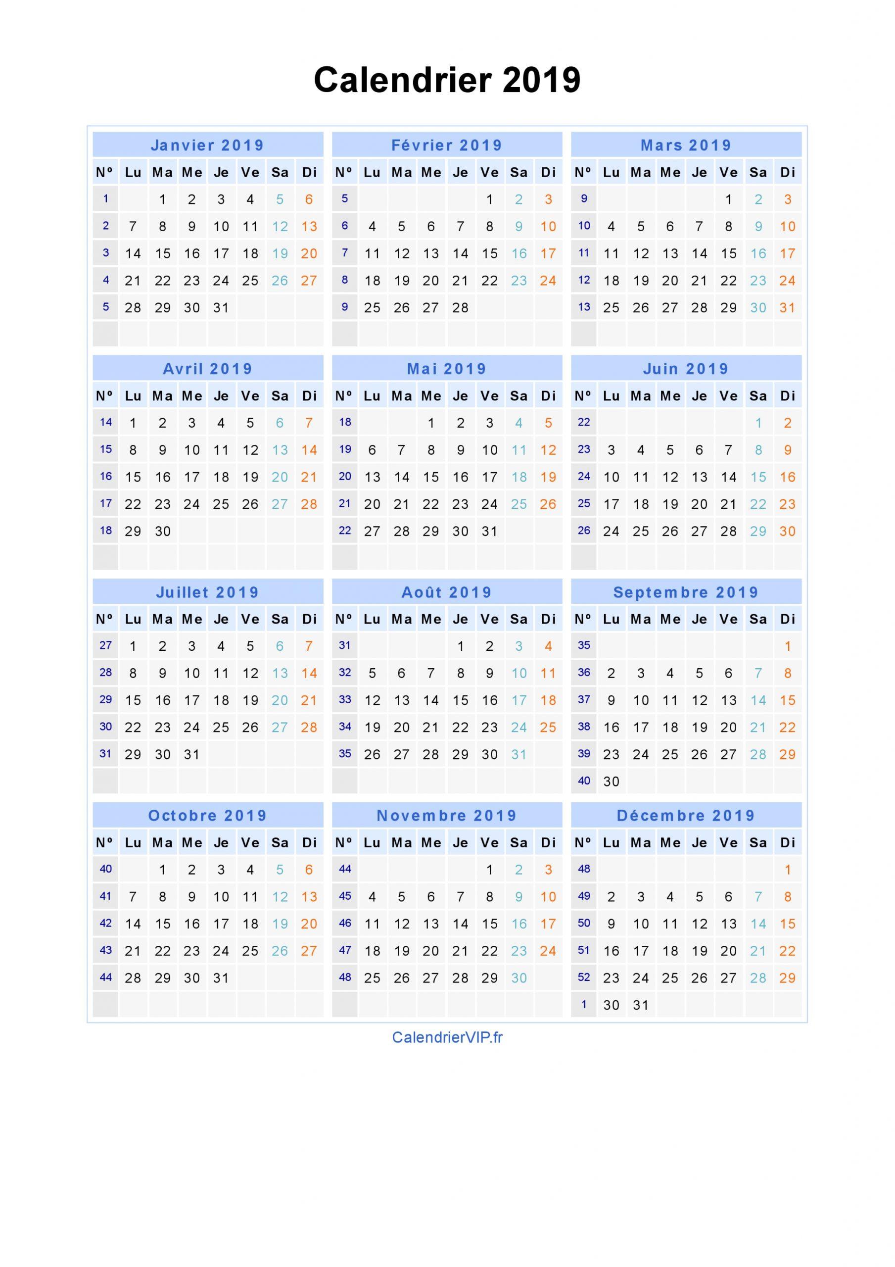 Calendrier 2019 À Imprimer Gratuit En Pdf Et Excel avec Calendrier Annuel 2019 À Imprimer Gratuit