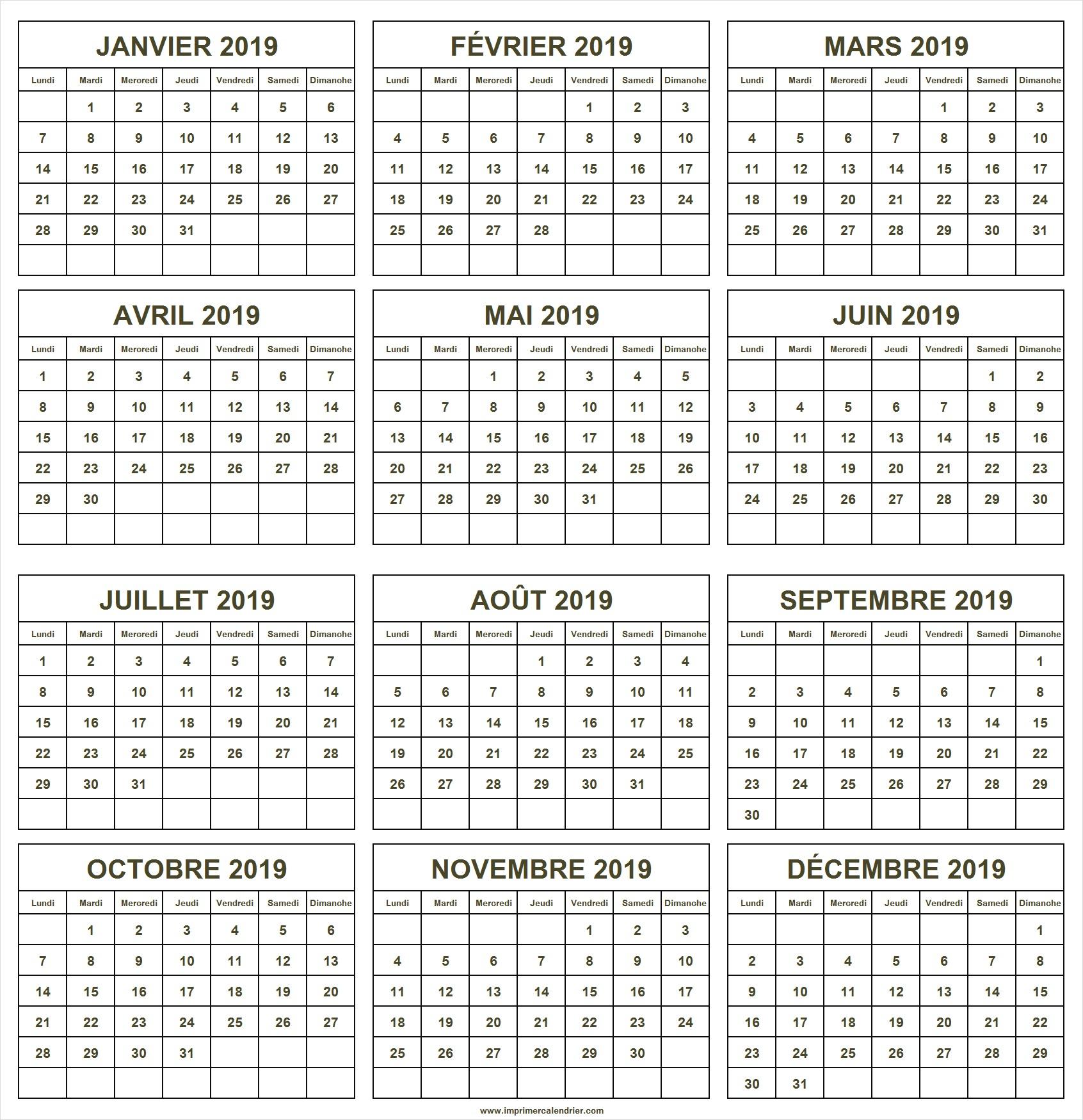 Calendrier 2019 À Imprimer Gratuit | Imprimer Calendrier 2019 destiné Calendrier Annuel 2019 À Imprimer Gratuit