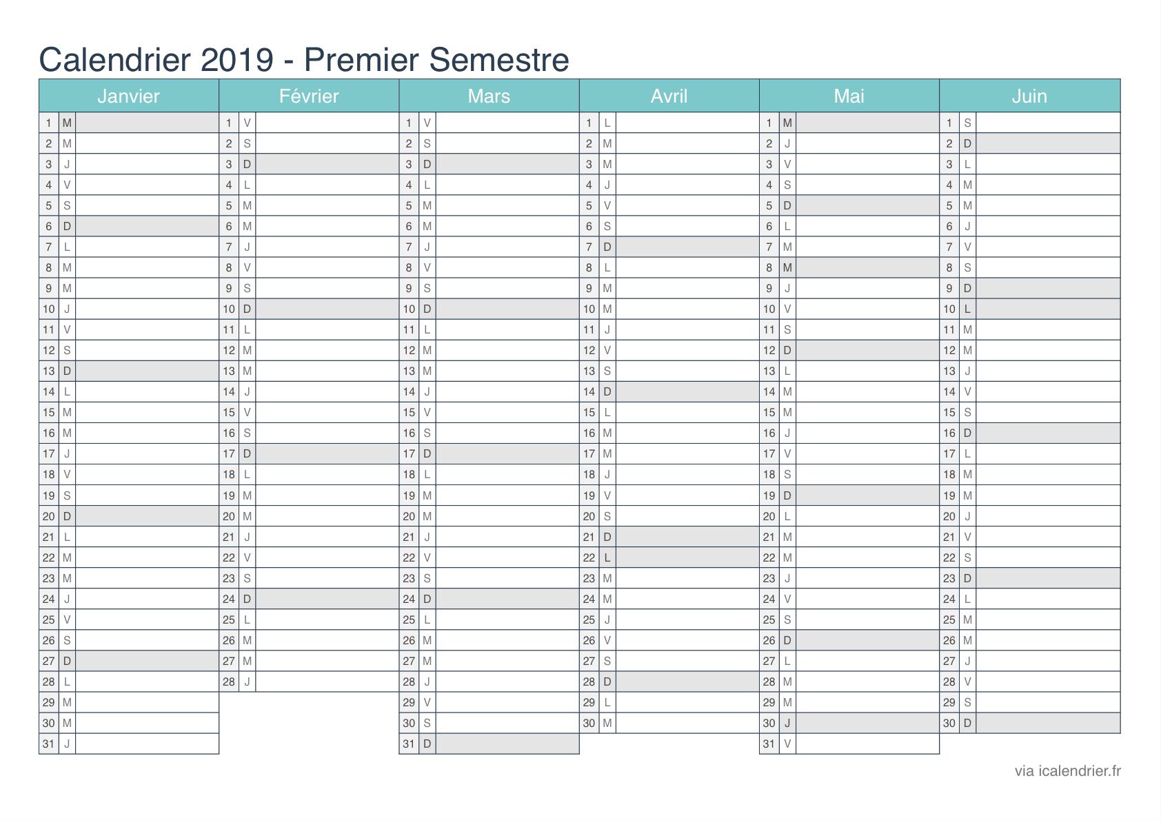 Calendrier 2019 À Imprimer Pdf Et Excel - Icalendrier concernant Calendrier 2019 Avec Semaine
