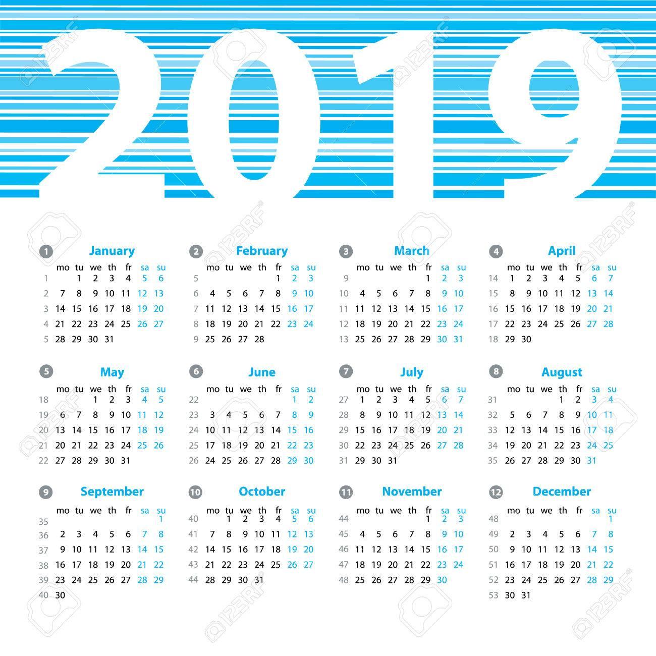 Calendrier 2019 Années Modèle De Dessin Vectoriel Avec Des Numéros De  Semaine Et Mois. Belle Conception De Vecteur. tout Calendrier 2019 Avec Semaine