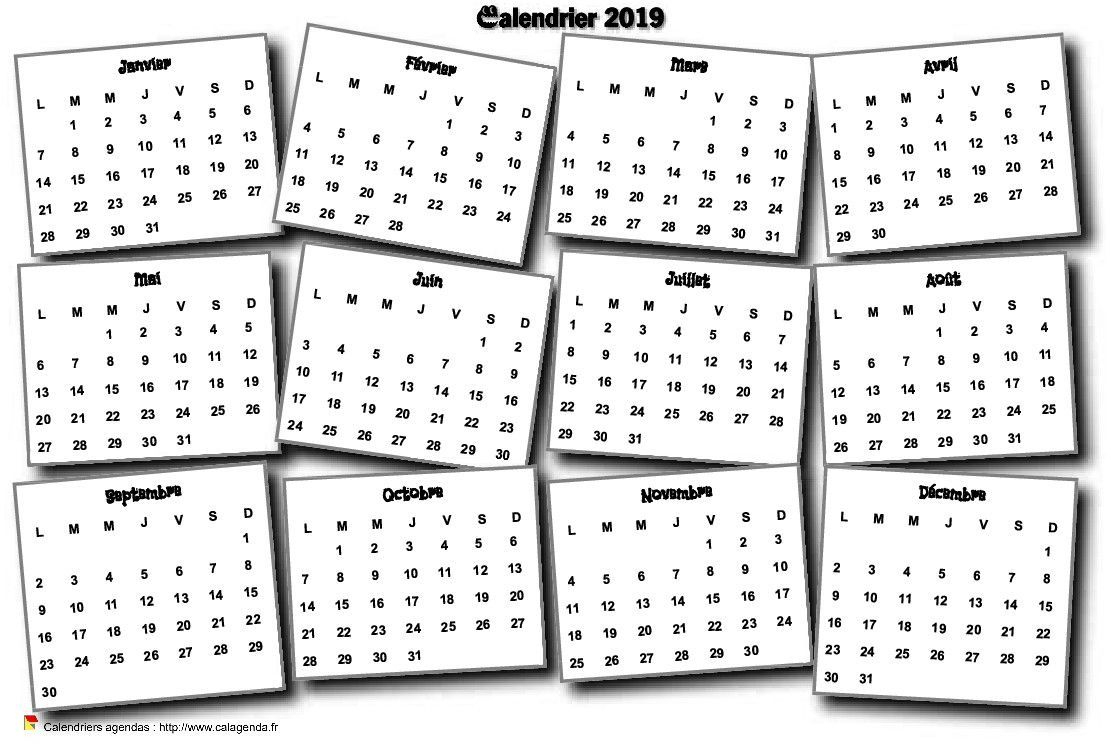 Calendrier 2019 Annuel 3D Pêle Mêle | Calendrier Imprimable dedans Calendrier Annuel 2018 À Imprimer