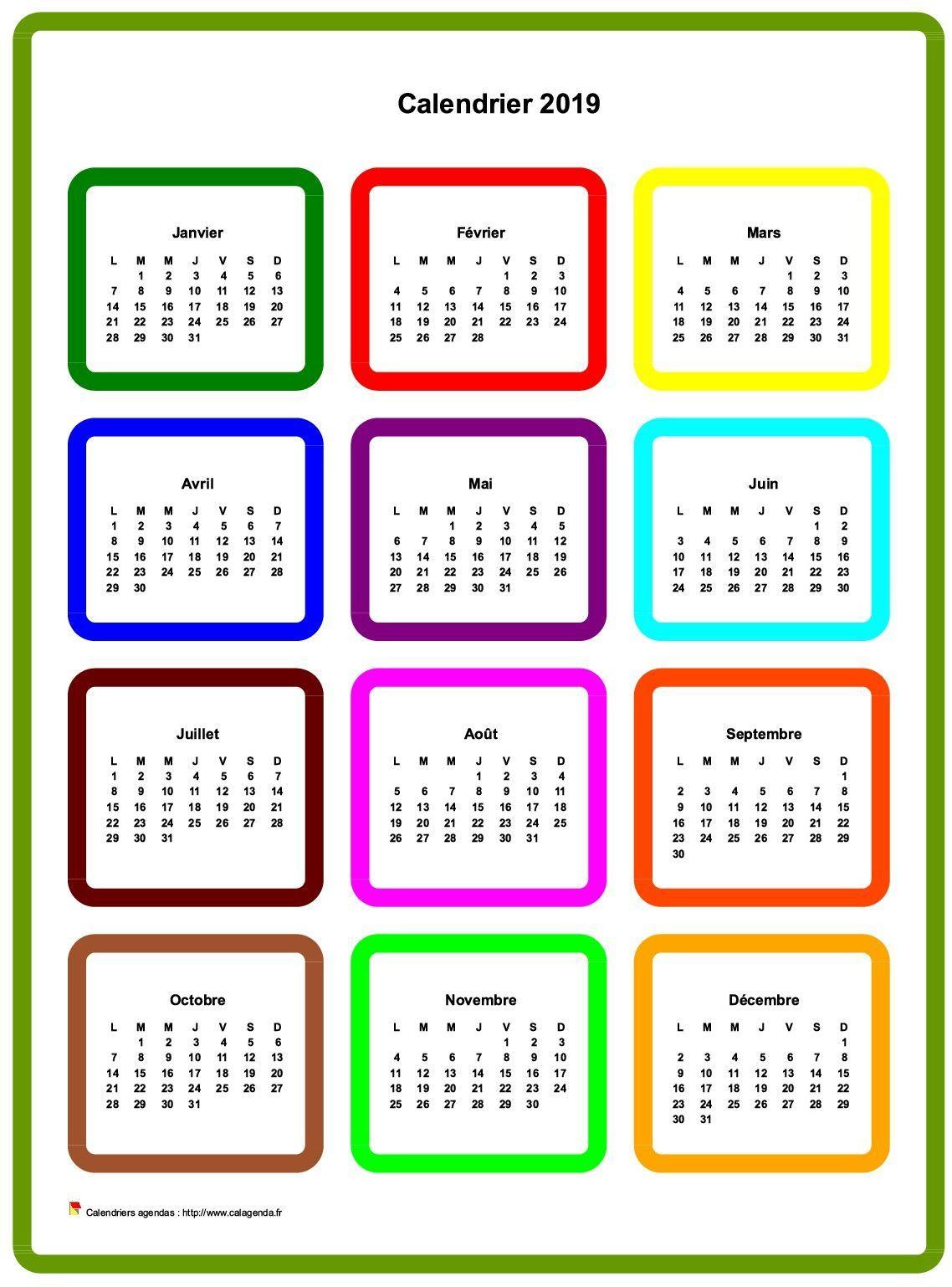 Calendrier 2019 Annuel En Couleurs | Calendrier, Calendrier dedans Calendrier Annuel 2019 À Imprimer Gratuit