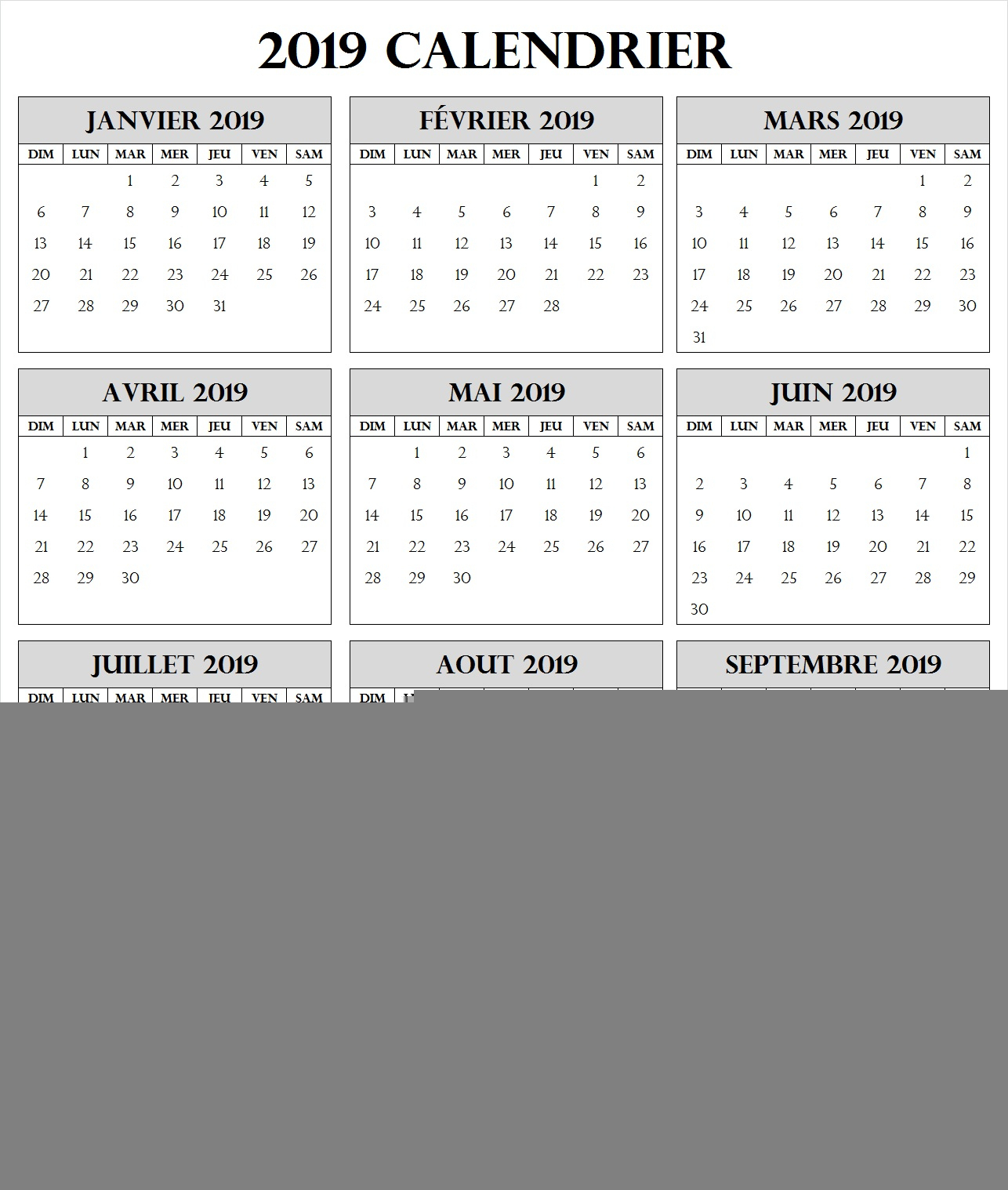 Calendrier 2019 | Calendrier Annually 2019 À Imprimer encequiconcerne Calendrier Annuel 2018 À Imprimer