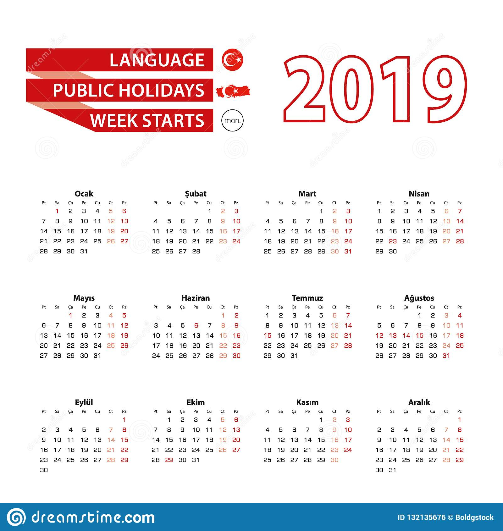 Calendrier 2019 Dans La Langue Turque Avec Des Jours Fériés concernant Calendrier 2019 Avec Semaine