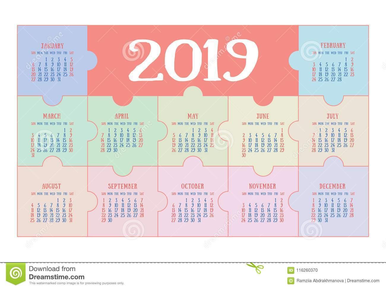 Calendrier 2019 De Poche Calibre Simple De Base Débuts De tout Calendrier Enfant Semaine