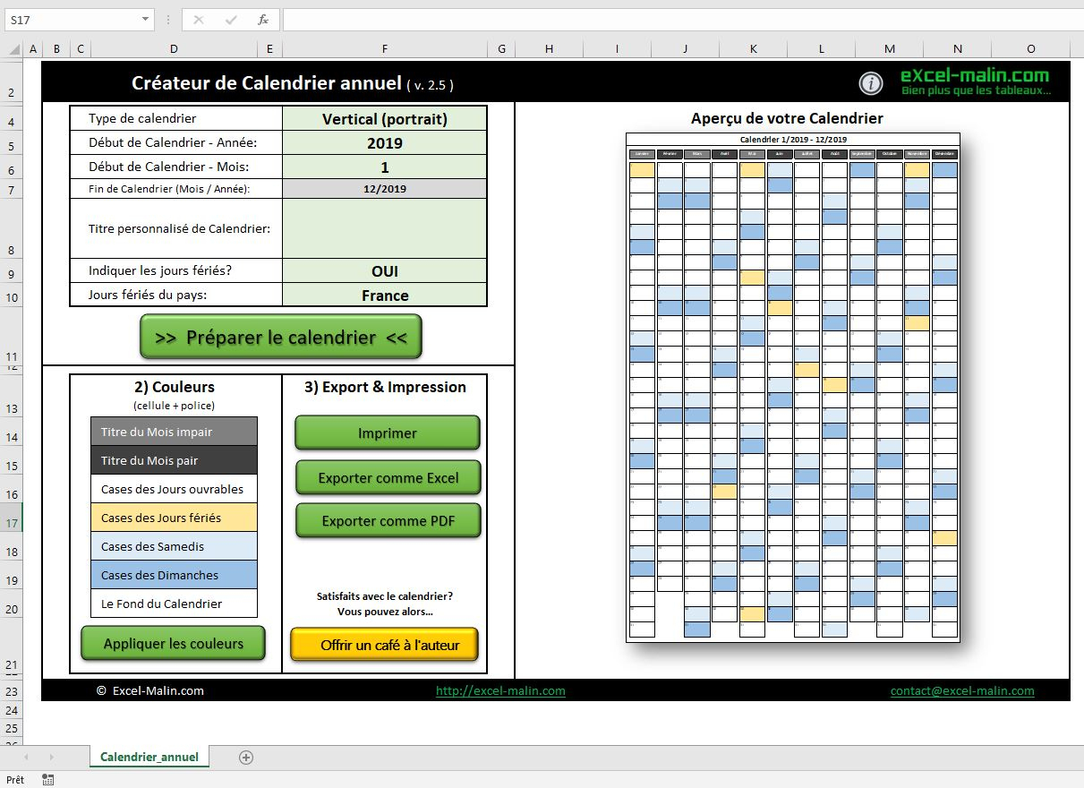 Calendrier 2019 Excel Modifiable Et Gratuit | Excel-Malin à Calendrier 2019 Avec Jours Fériés Vacances Scolaires À Imprimer