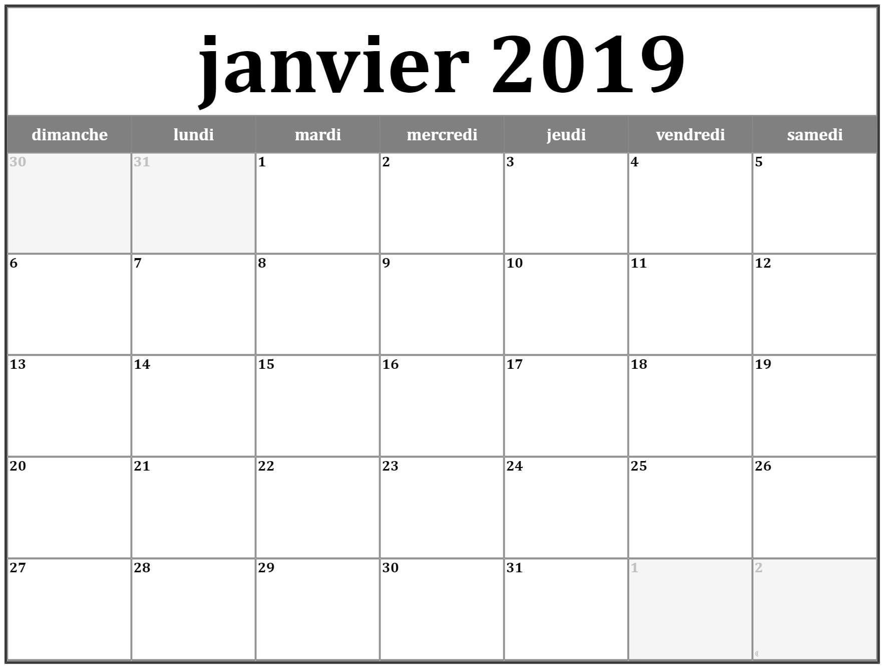 Calendrier 2019 Janvier | Calendrier Imprimable, Calendrier encequiconcerne Calendrier 2019 Avec Semaine
