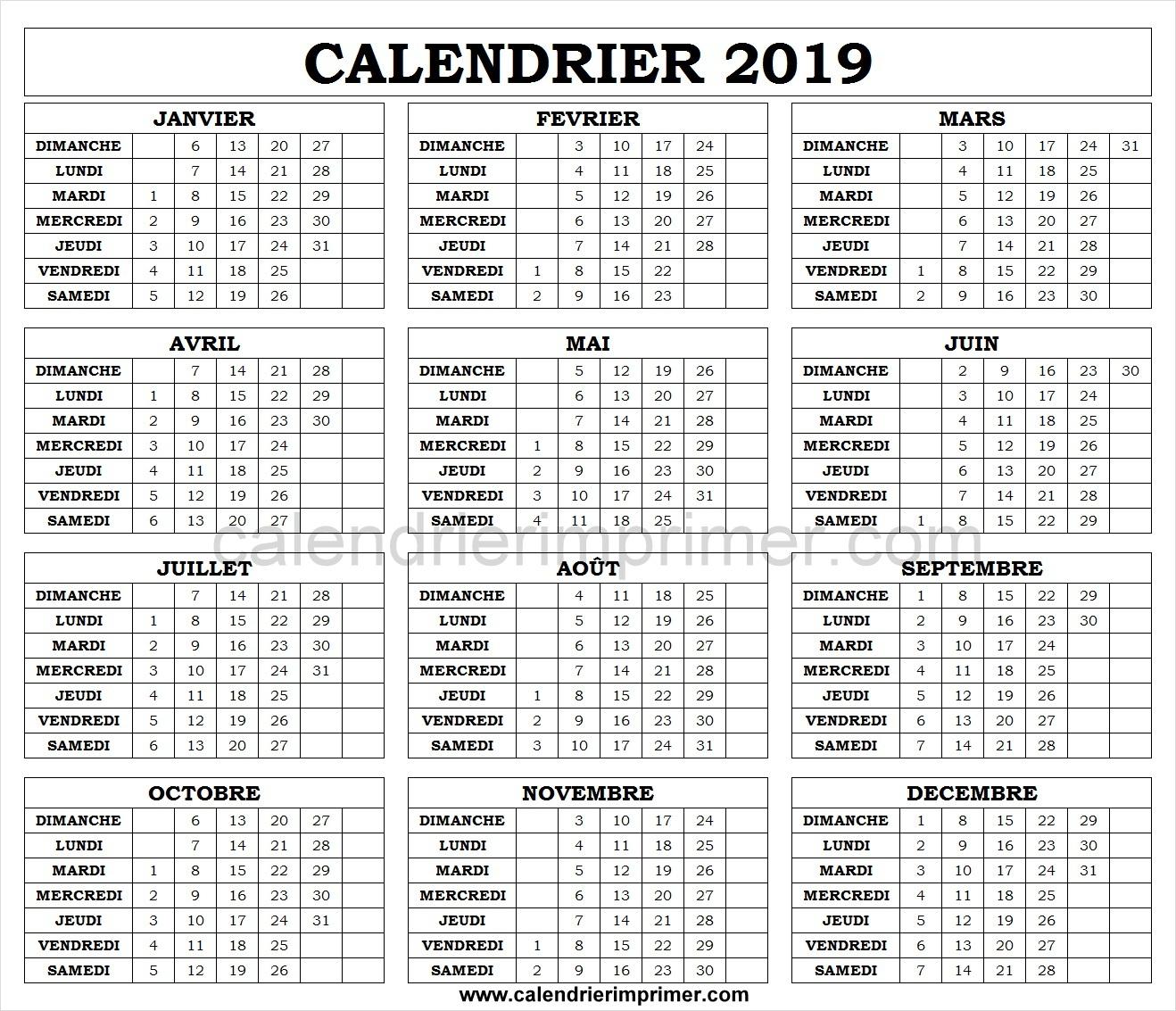Calendrier 2019 Ludique A Imprimer | Calendrier Vacances 2019 encequiconcerne Calendrier Ludique À Imprimer