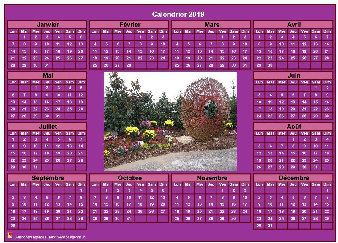 Calendrier 2019 Photo Annuel À Imprimer, Fond Rose, Format pour Calendrier Annuel 2019 À Imprimer Gratuit