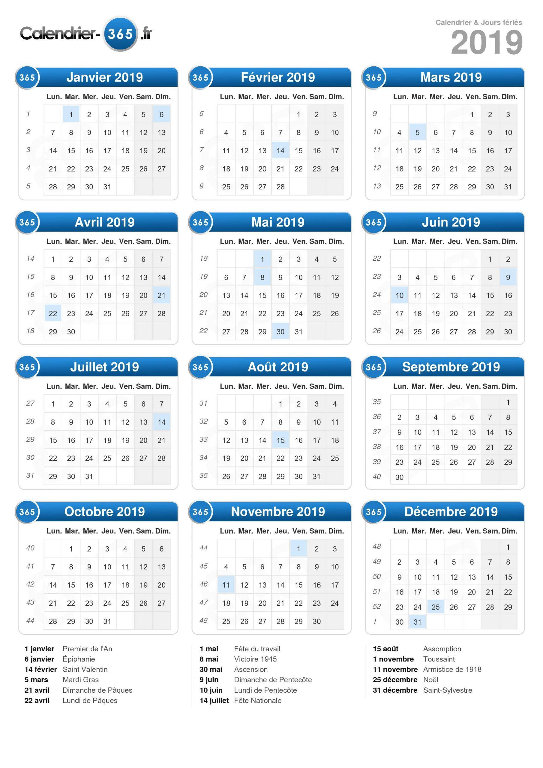 Calendrier 2019 pour Calendrier 2019 Avec Jours Fériés Vacances Scolaires