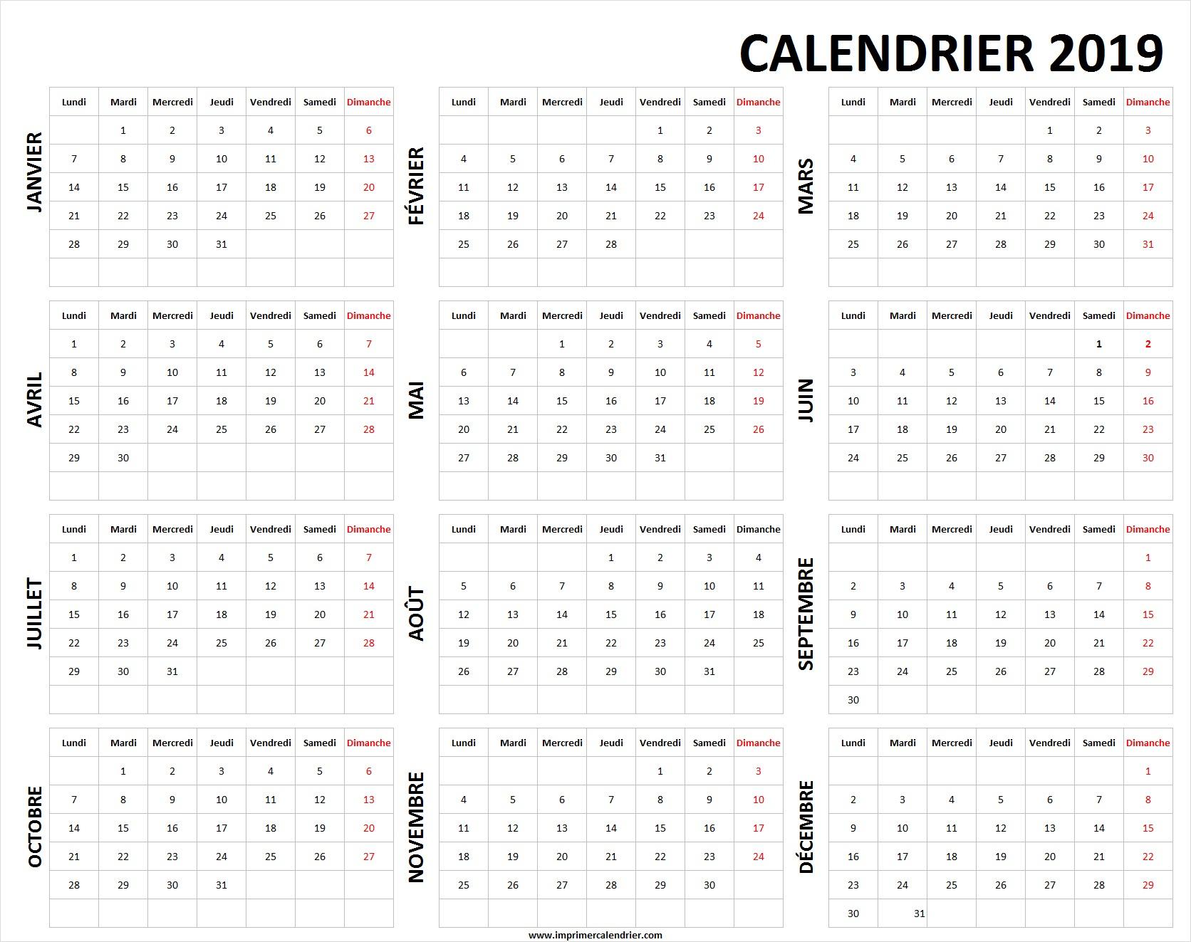 Calendrier 2019 Vierge À Imprimer | Calendrier 2019 Vierge À concernant Calendrier Annuel 2019 À Imprimer Gratuit