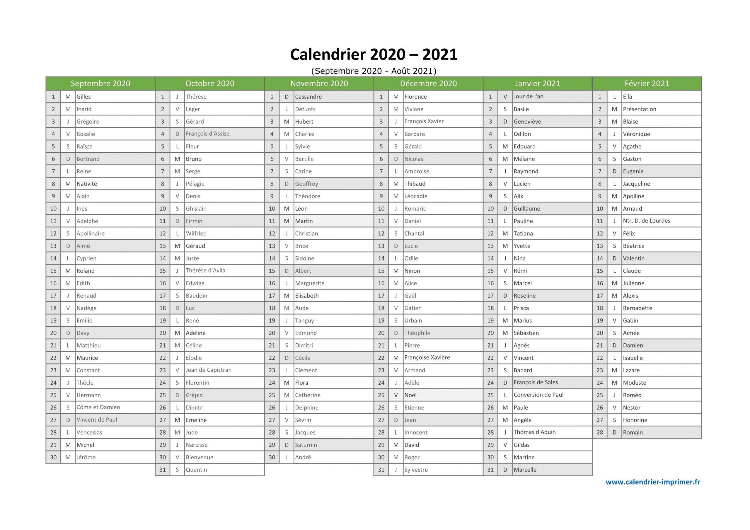Calendrier 2020 2021 À Imprimer pour Calendrier 2019 Avec Jours Fériés Vacances Scolaires À Imprimer