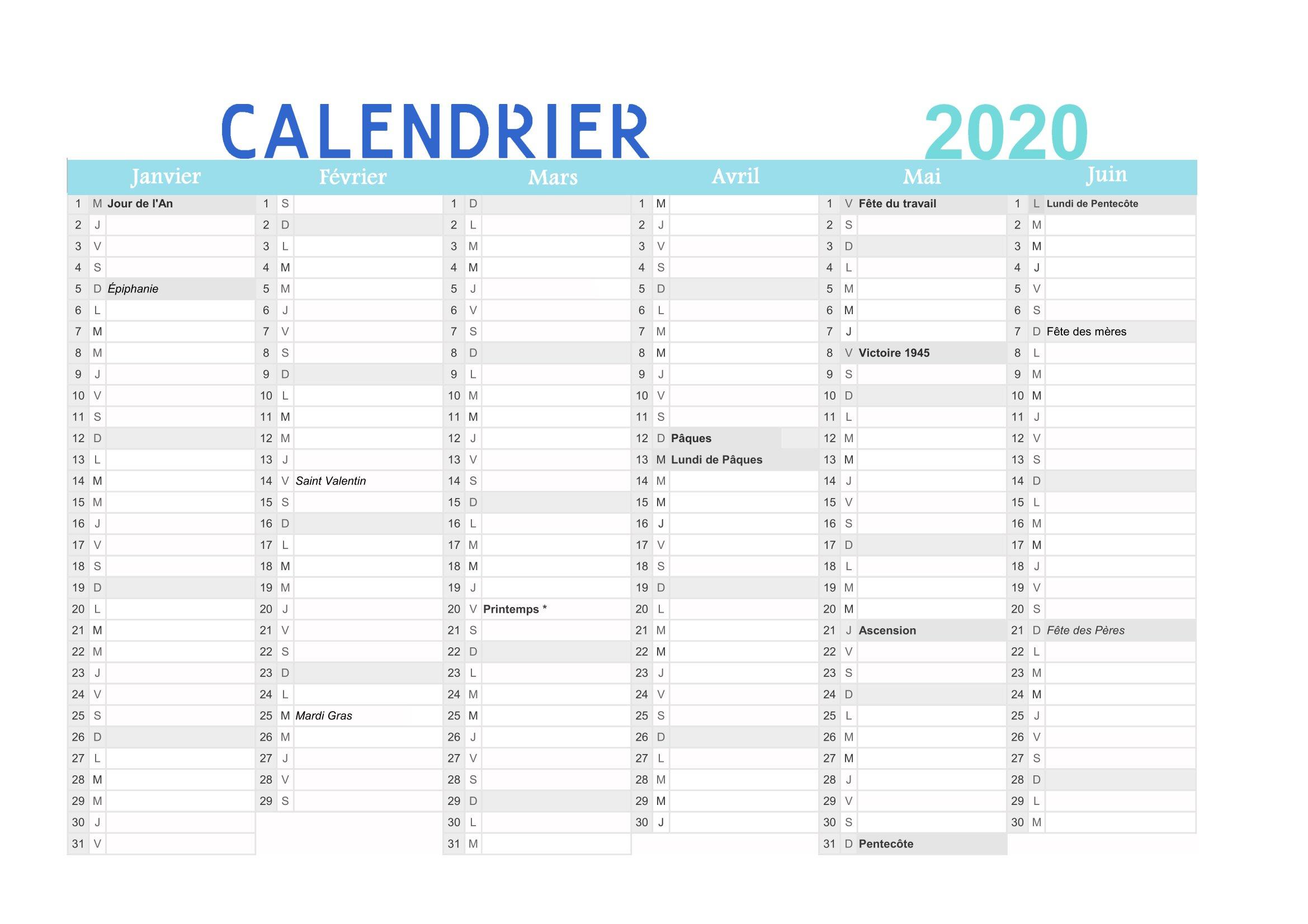 Calendrier 2020 À Imprimer (Gratuit) : Au Format Pdf dedans Calendrier Des Anniversaires À Imprimer Gratuit