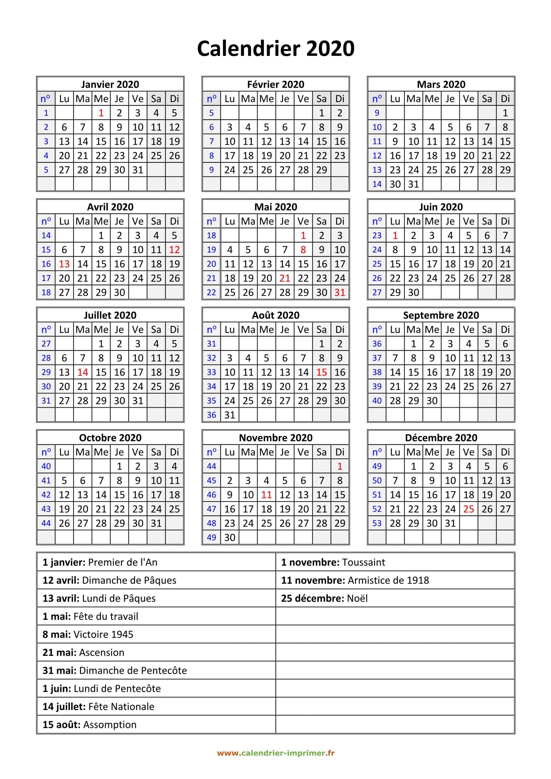 Calendrier 2020 À Imprimer Gratuit concernant Calendrier Annuel 2018 À Imprimer Gratuit