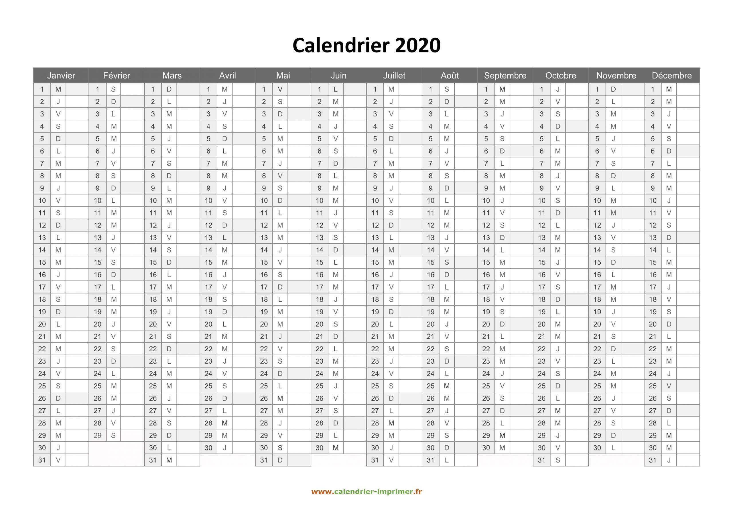 Calendrier 2020 À Imprimer Gratuit concernant Calendrier Annuel 2019 À Imprimer Gratuit