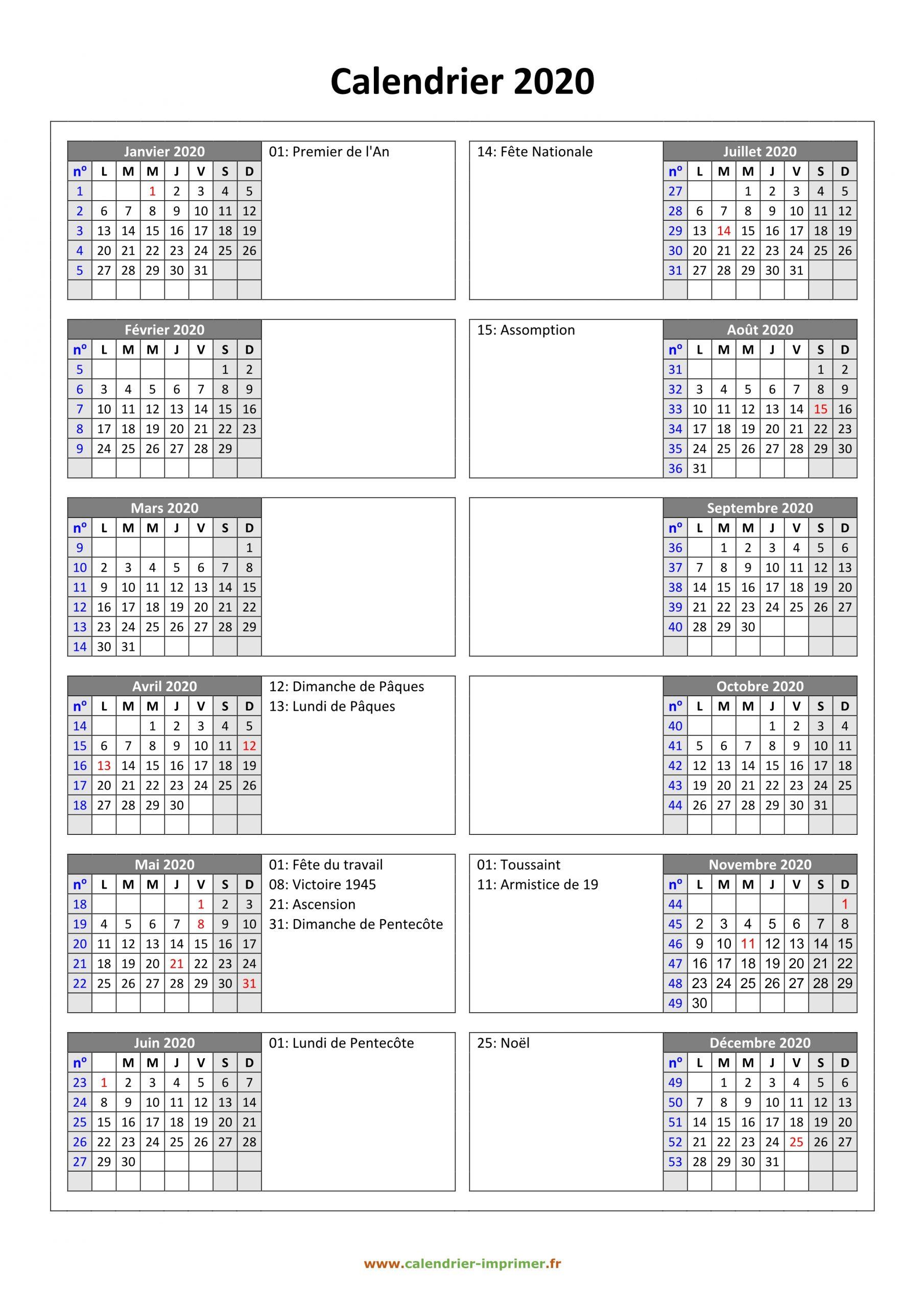 Calendrier 2020 À Imprimer Gratuit dedans Calendrier Annuel 2019 À Imprimer Gratuit