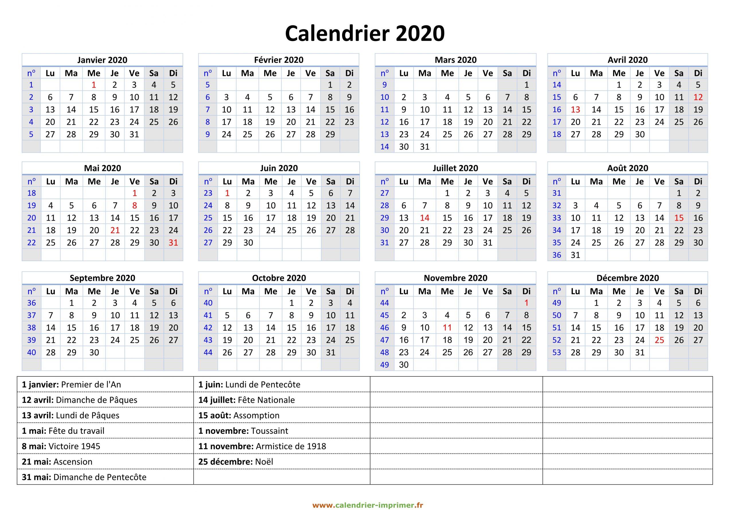 Calendrier 2020 À Imprimer Gratuit destiné Calendrier Annuel 2018 À Imprimer